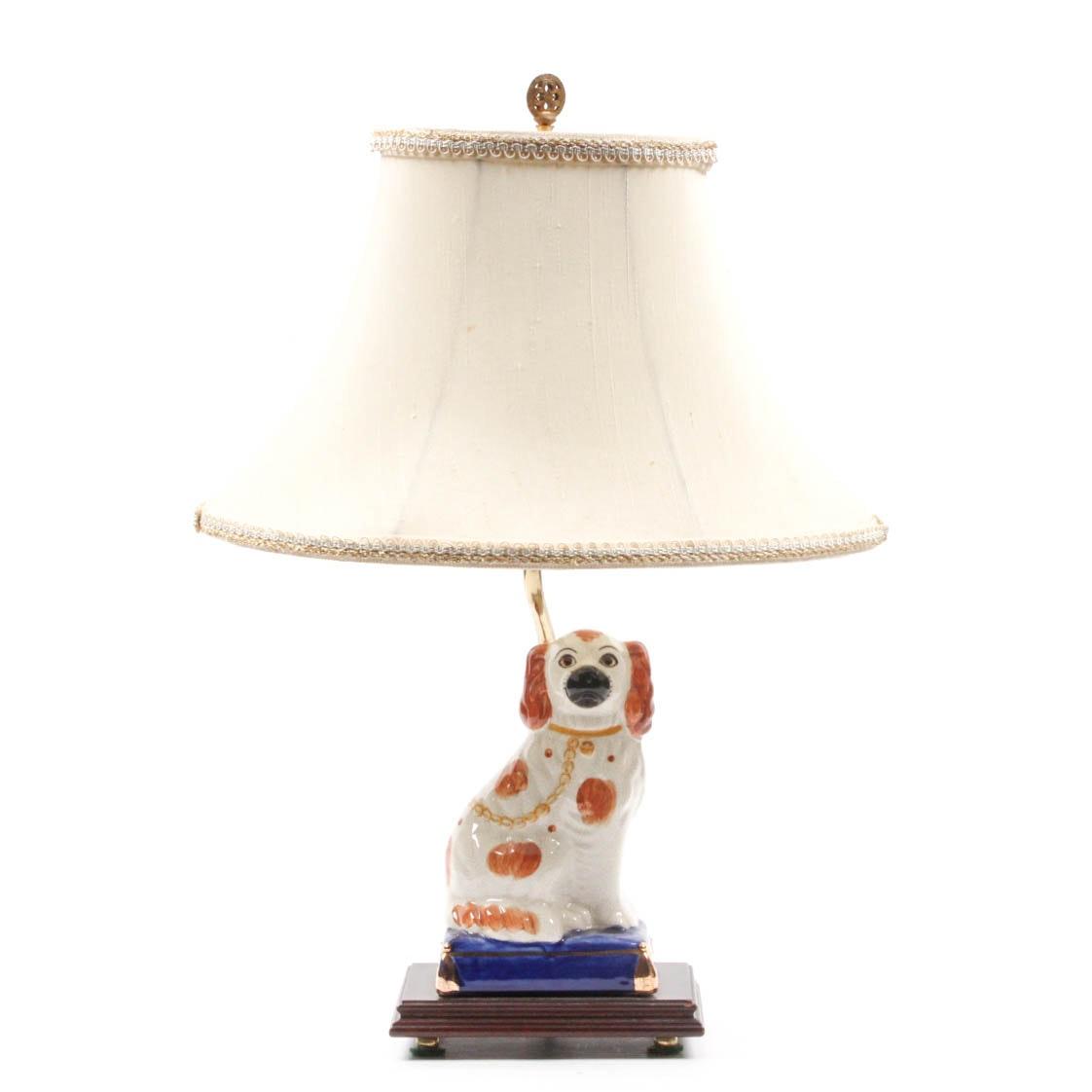 Staffordshire Style Ceramic Spaniel Lamp