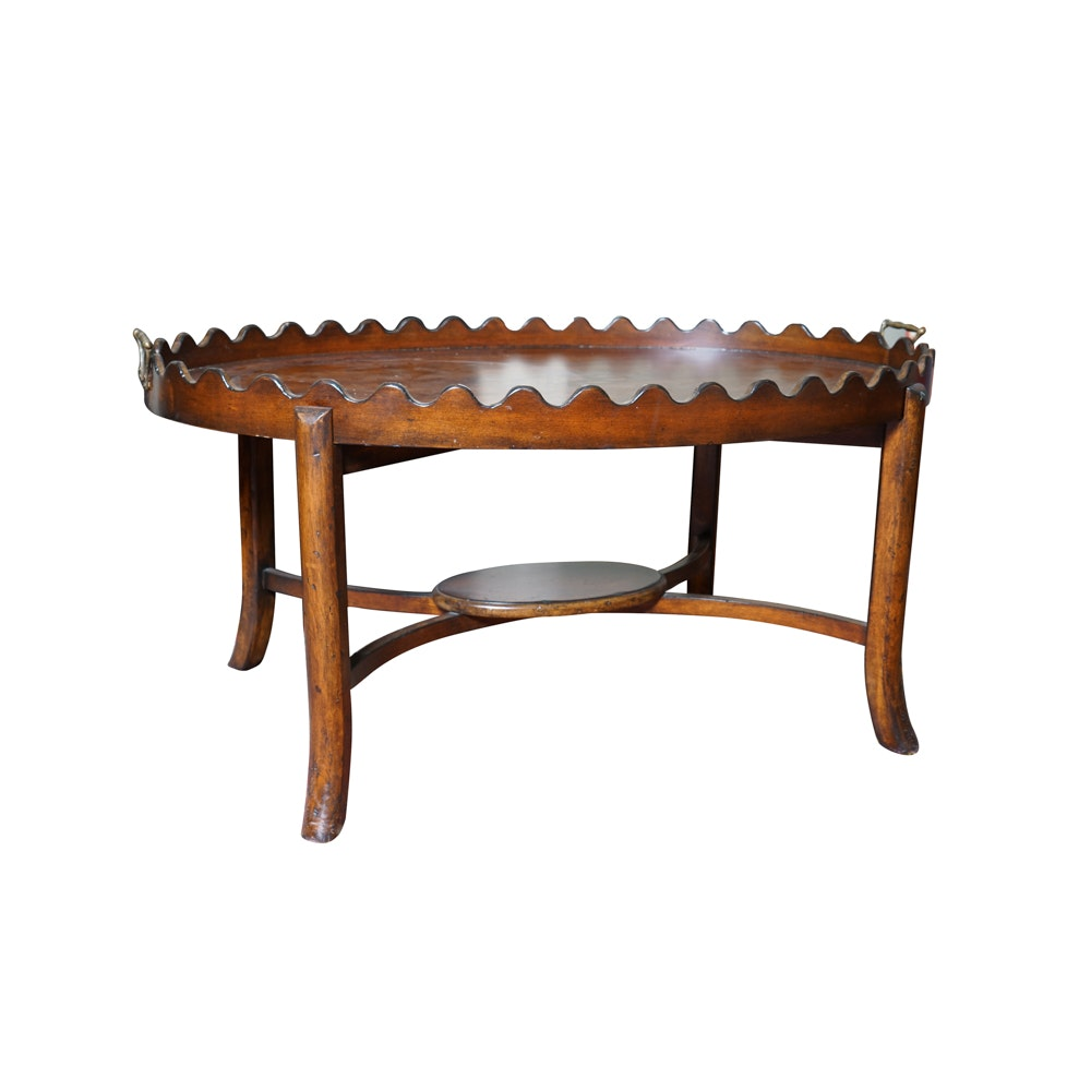 Sheraton Style Inlaid Oval Tray Table