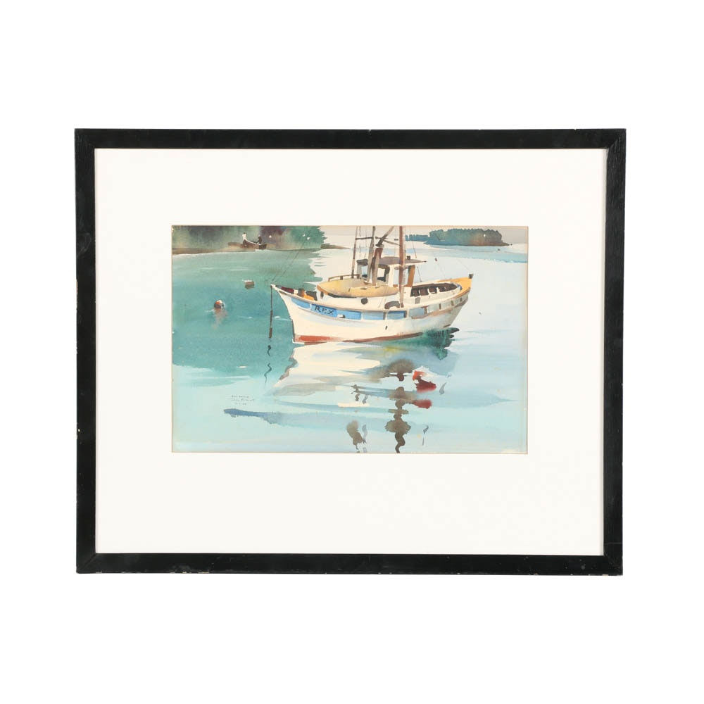 Rex Brandt Watercolor on Paper of a Sailboat