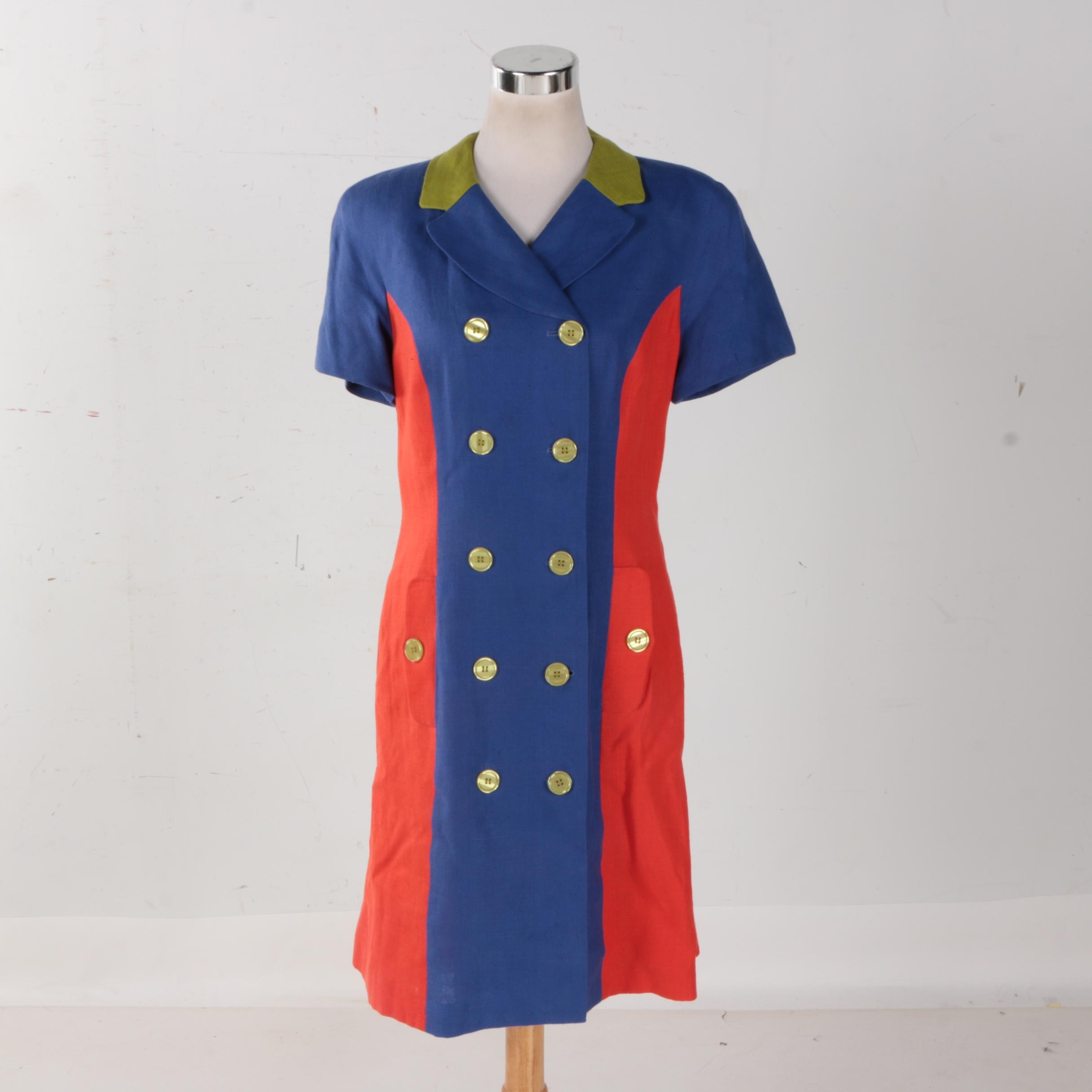 Blue and Red Trench Dress