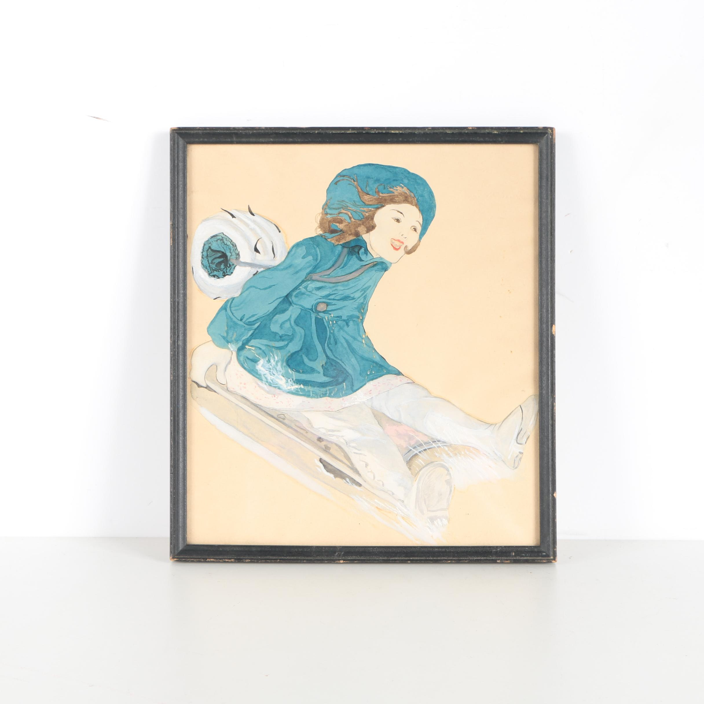 Watercolor and Gouache Painting of Girl on Sled