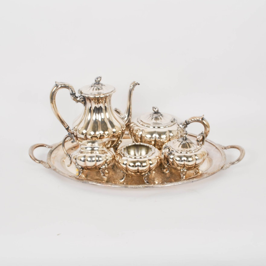 Oneida Silver Plate Tea and Coffee Set and a Silver Plate Tray : EBTH