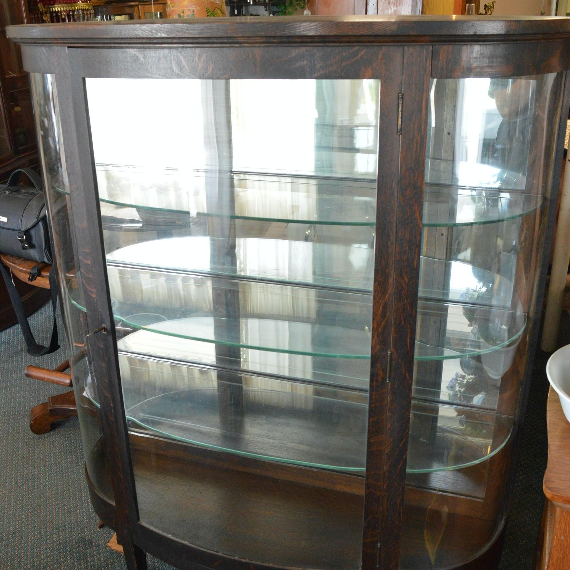 Victorian Oak Curio Display Cabinet