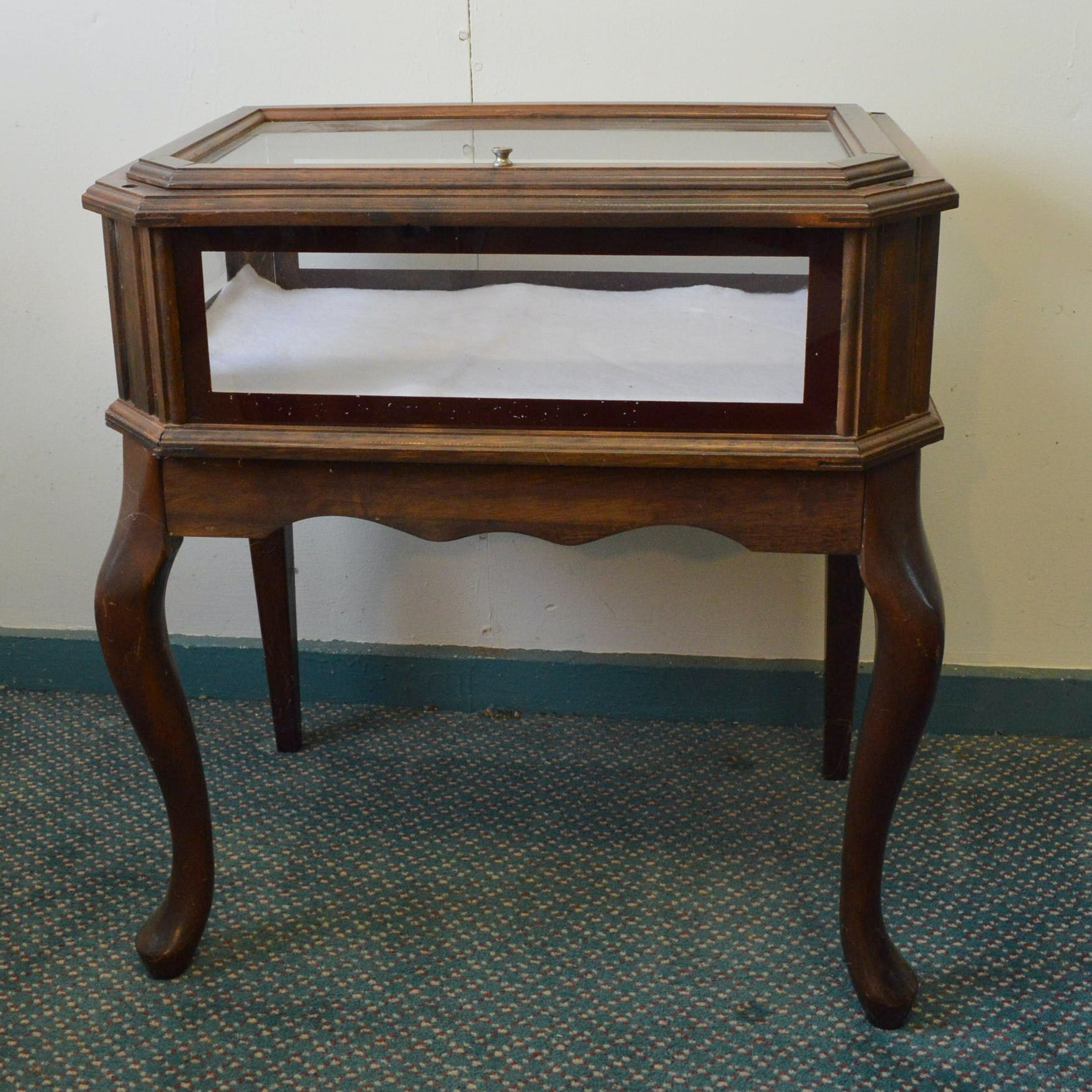 French Style Glass Vitrine Display Table