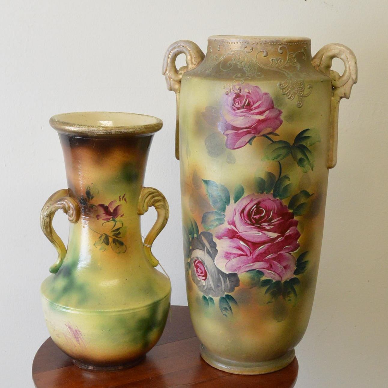 Antique Hand-Painted  Floral Vases
