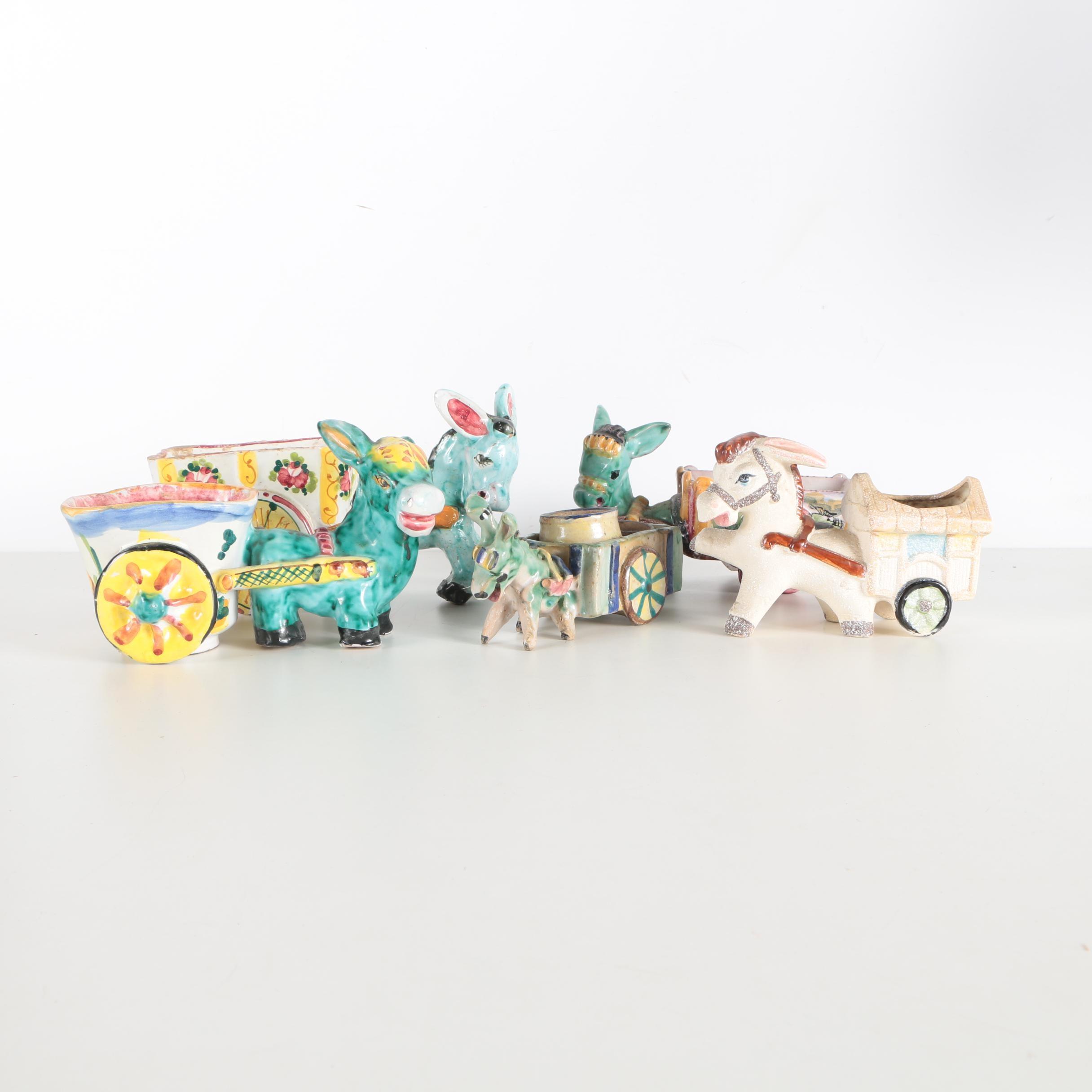 Italian Stoneware Donkey Figures