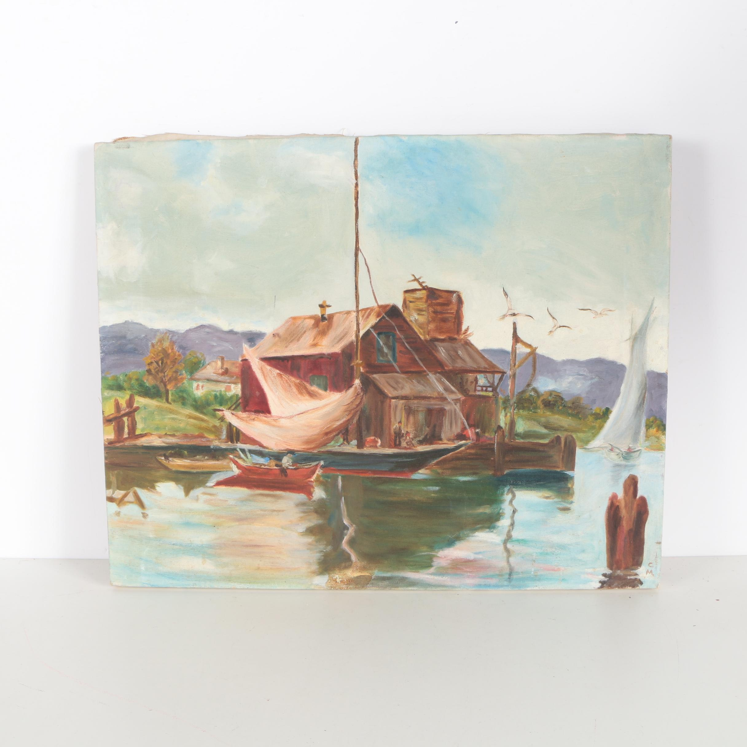 Oil Painting on Canvas of a Sailboat