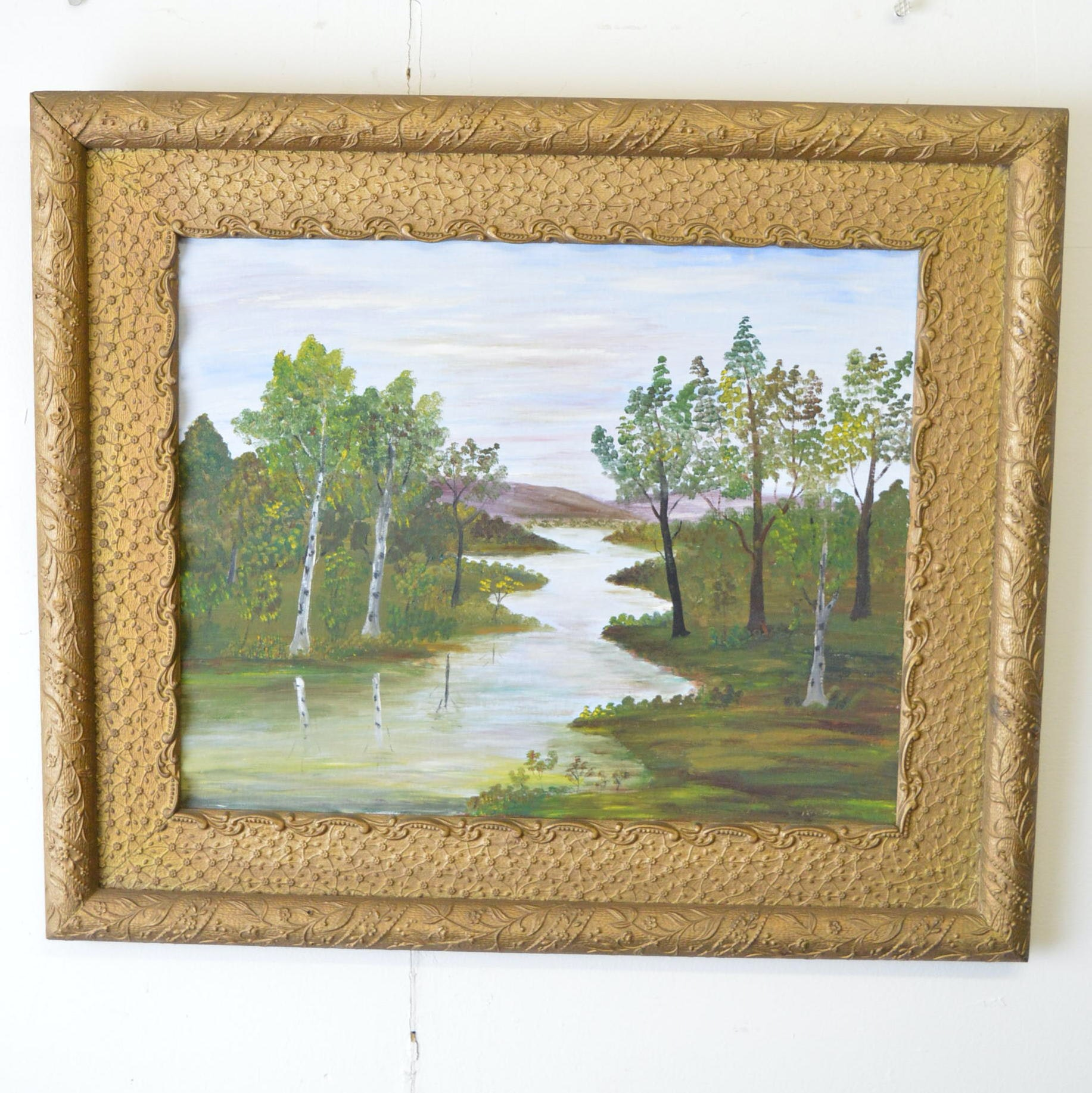 Oil Painting on Canvas of a Meandering River