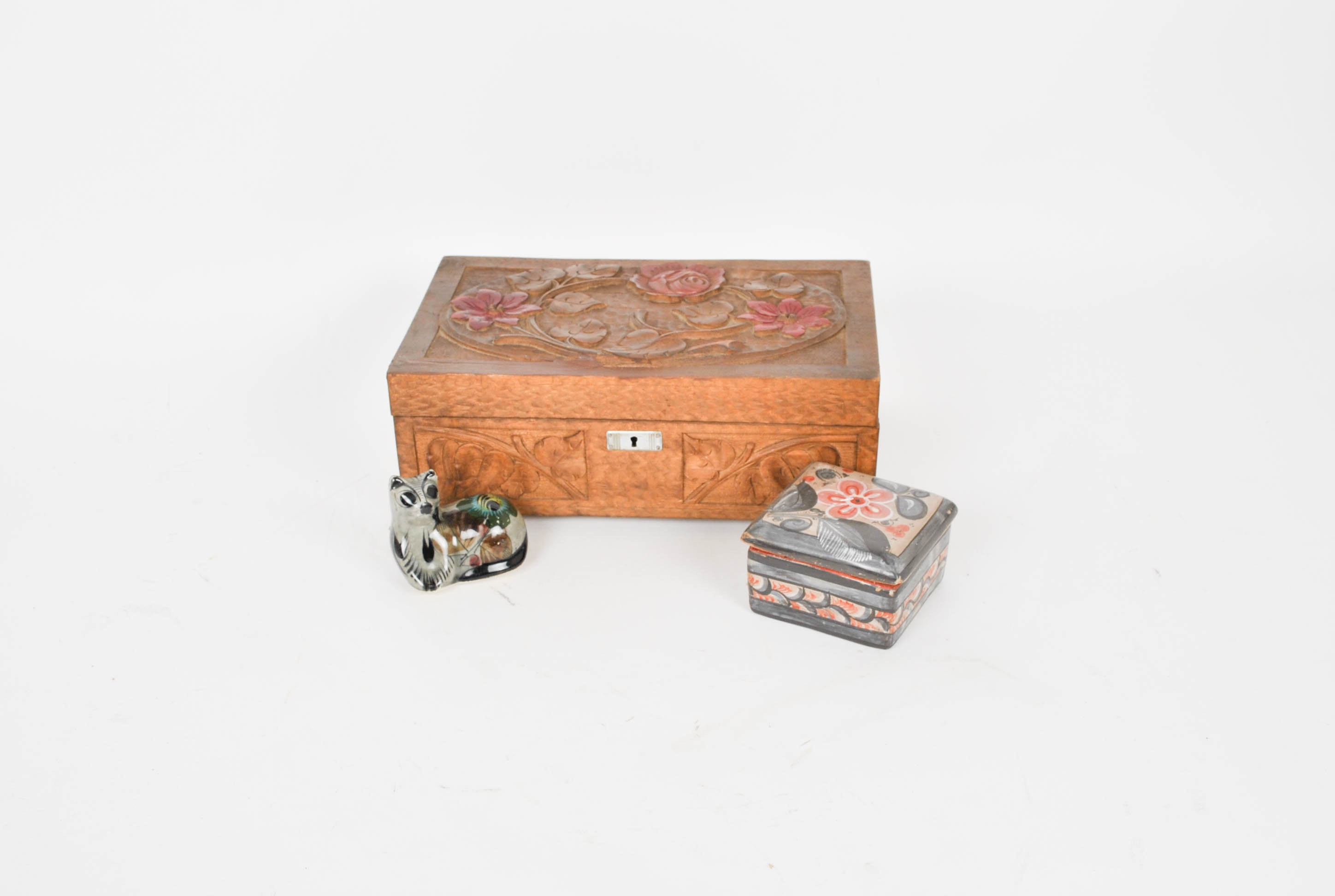 Wooden Carved Box and Talavera Miniature Cat