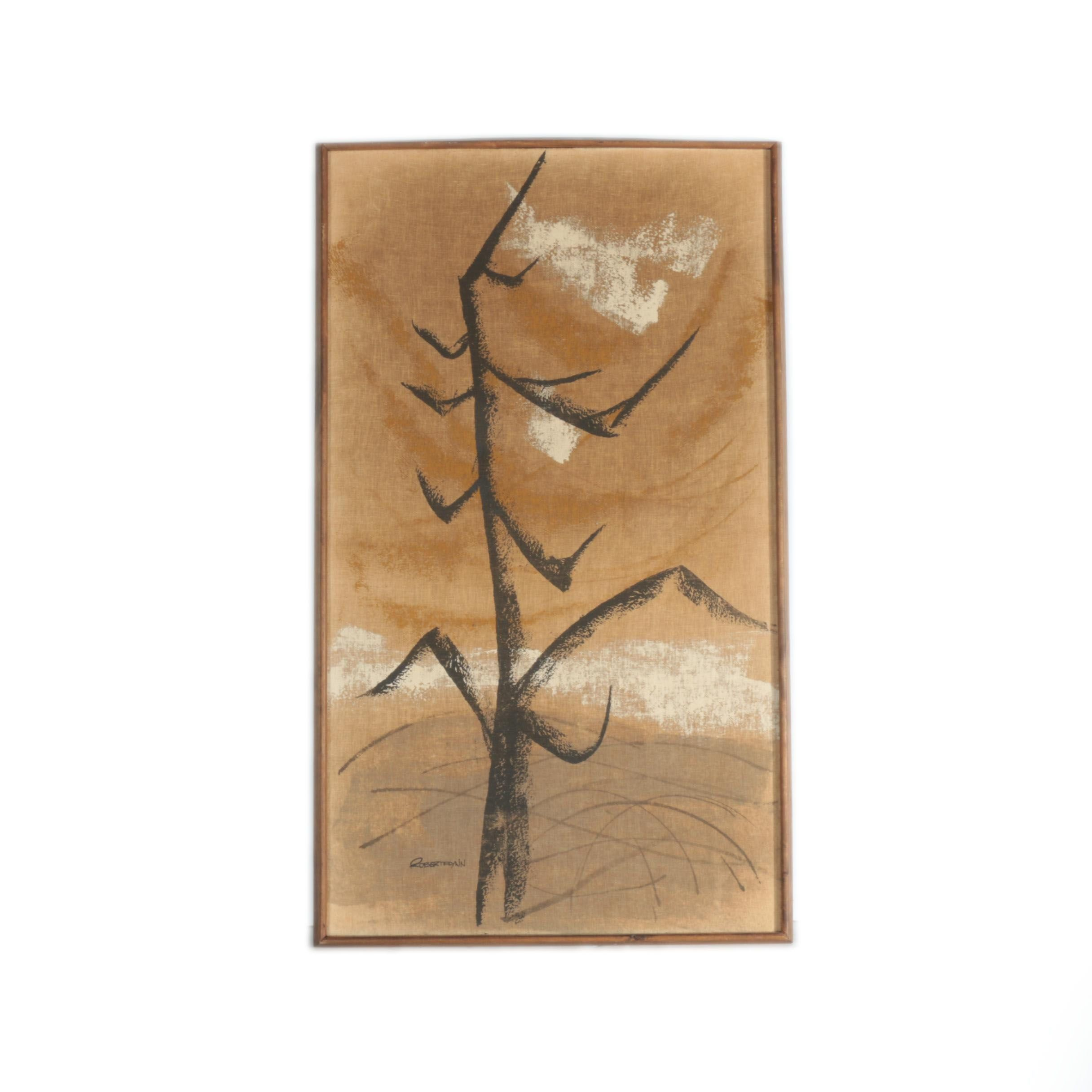 "Robert Flynn Acrylic on Burlap ""Landscape in Motion"""