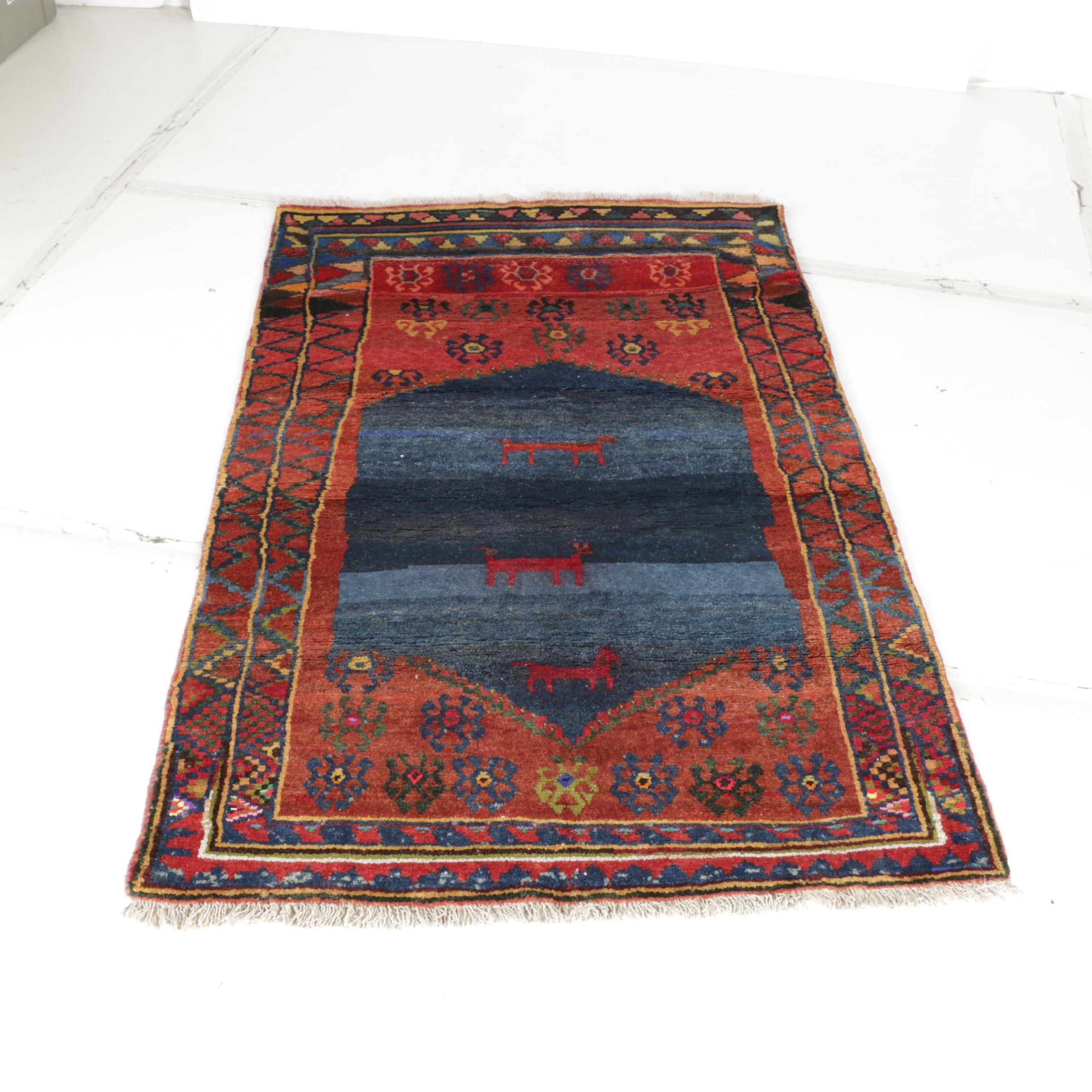 Hand-Knotted Persian Tribal Area Rug