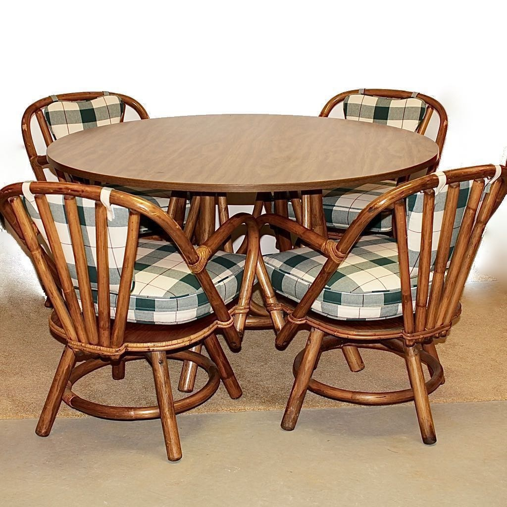 Bamboo Frame Table with 4 Swivel Chairs