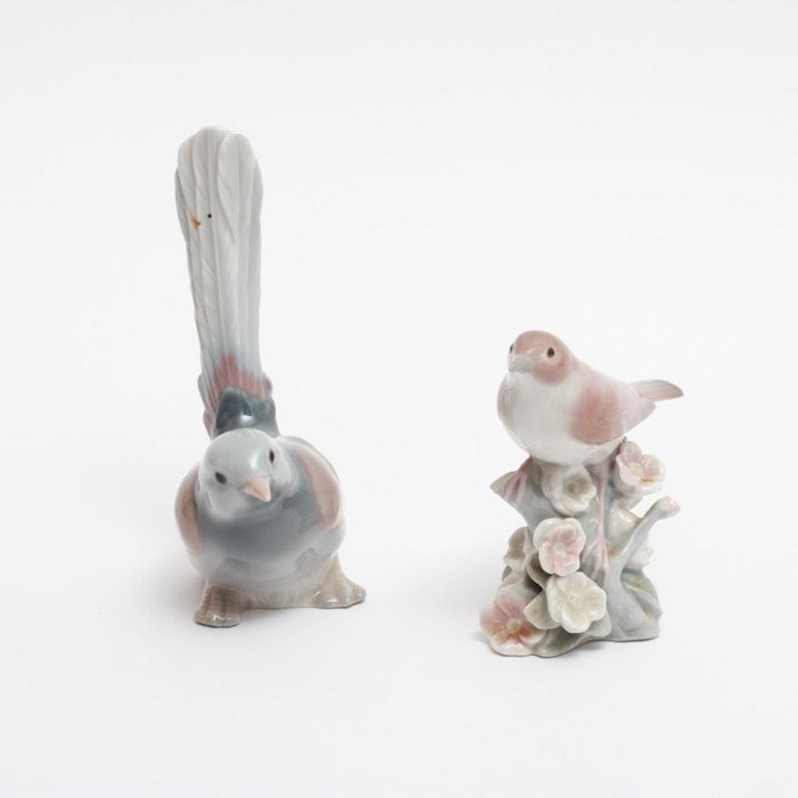 Pair Of Lladró Porcelain Bird Figurines