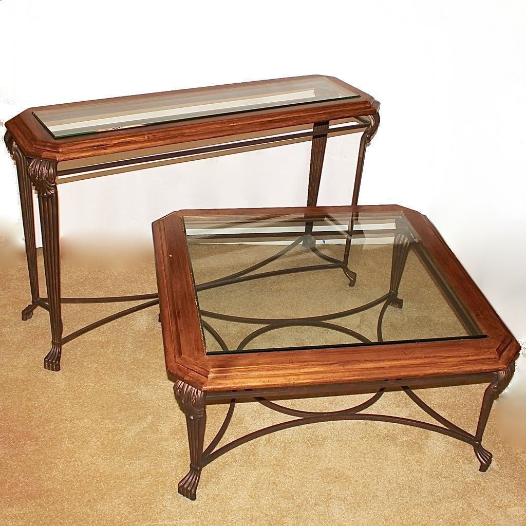 Glass Top Wood and Wrought Iron Sofa and Coffee Table