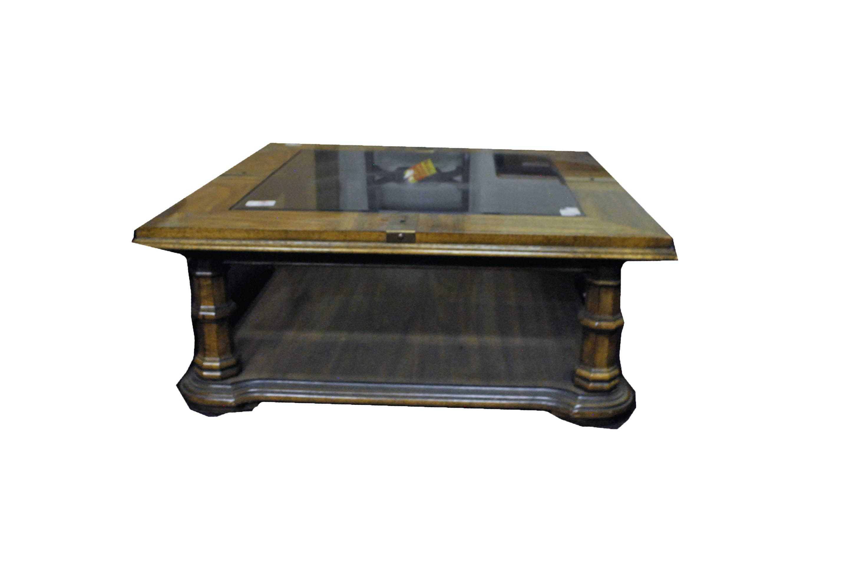 Square Wooden Coffee Table with a Glass Surface