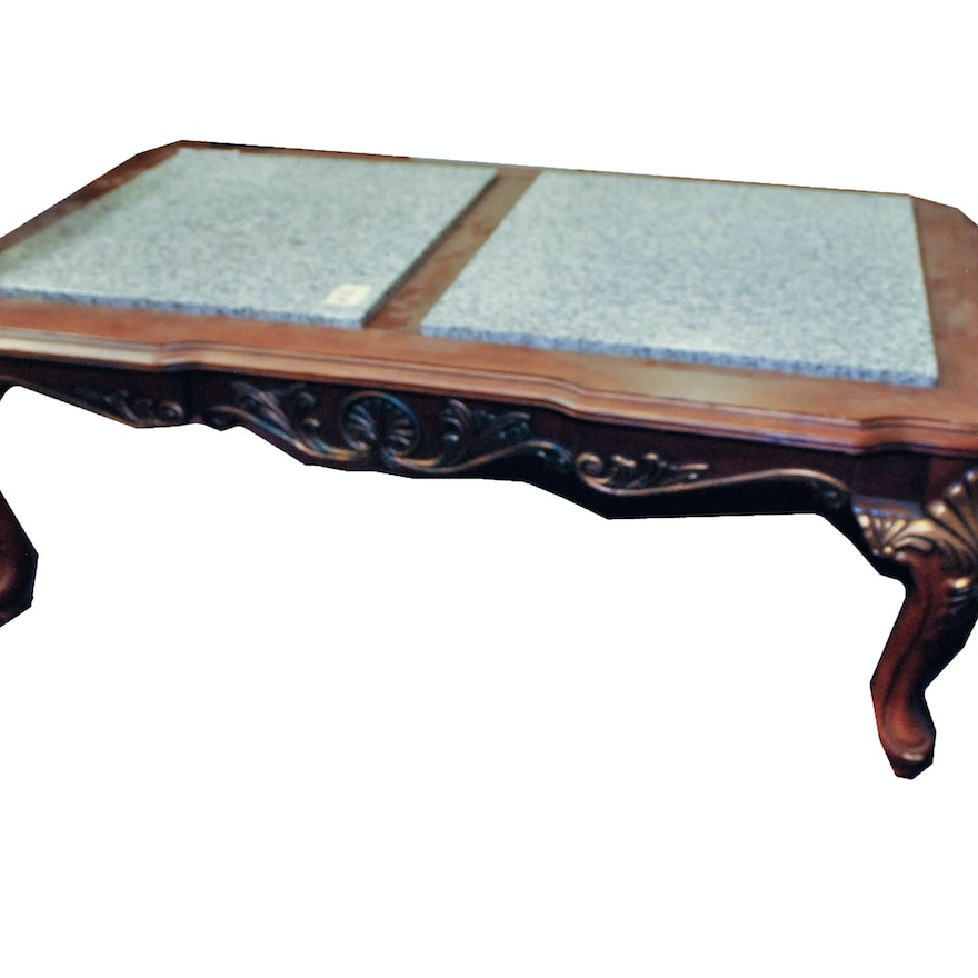 Ornate Wooden Coffee Table With Granite Inlay Ebth