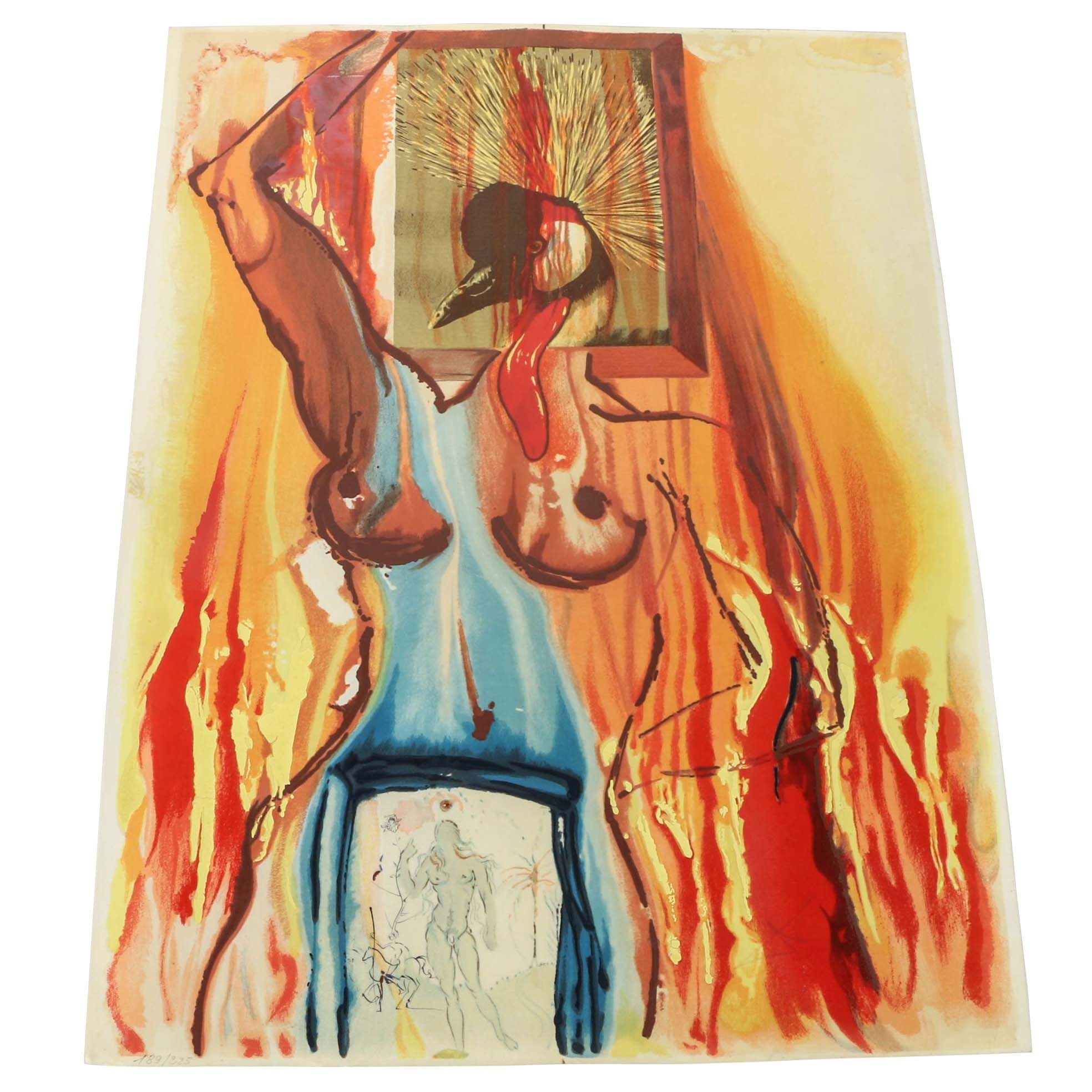 """Salvador Dali Limited Edition Serigraph and Etching on Parchment """"Le Phénix"""""""