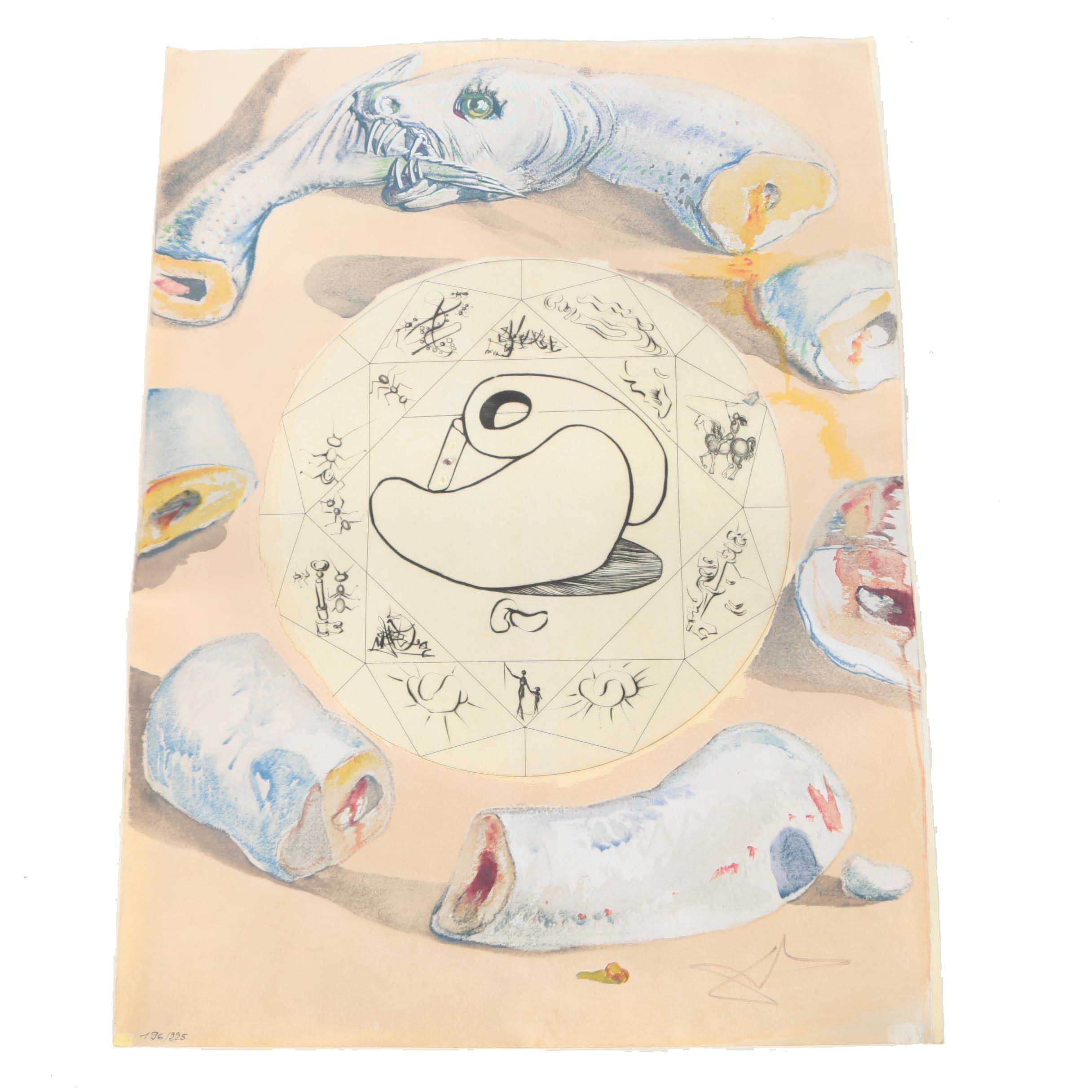 """Salvador Dali Limited Edition Serigraph and Etching on Parchment """"L' Ouroboros"""""""
