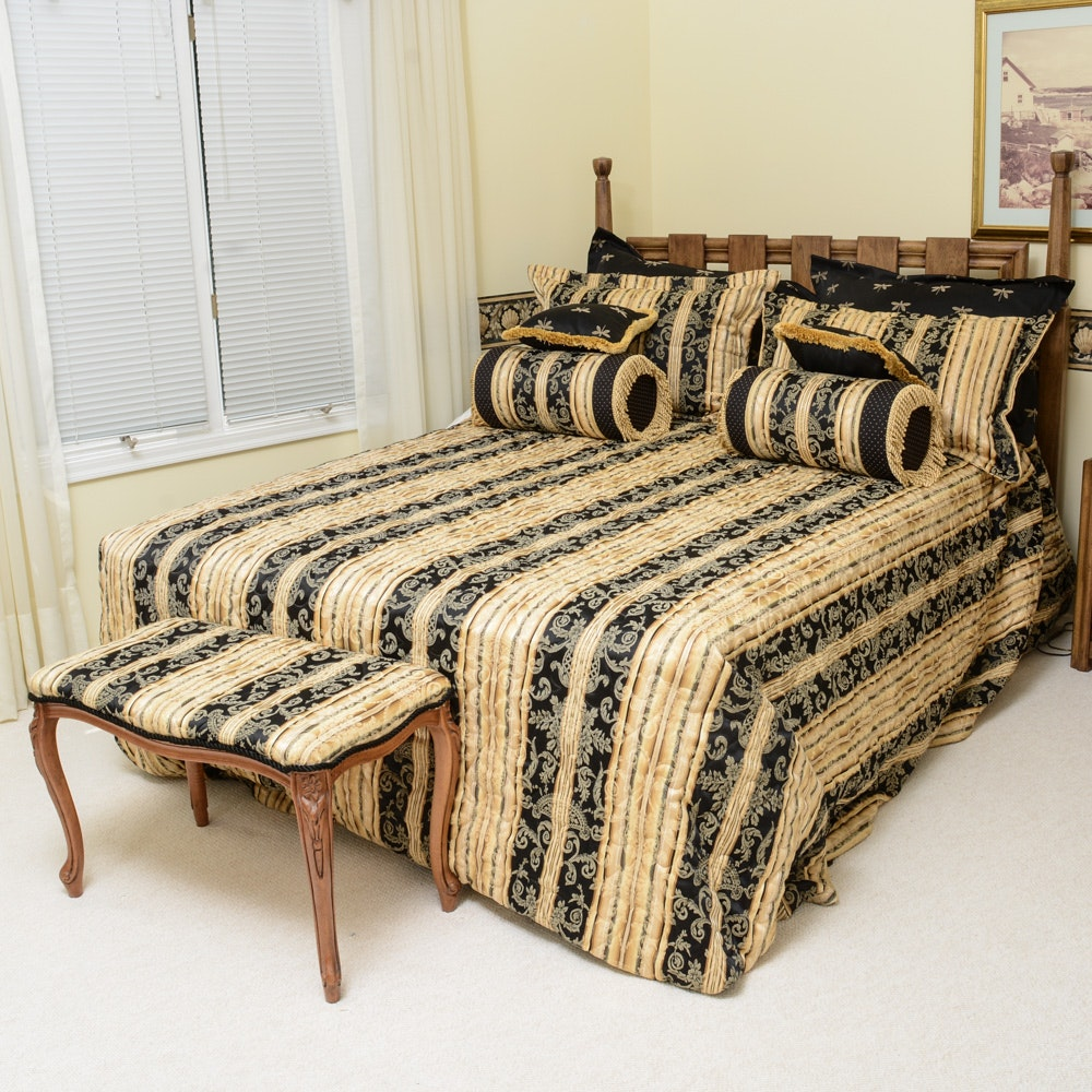 Queen Size Wooden Bed, Mattress, Sheets and Bench