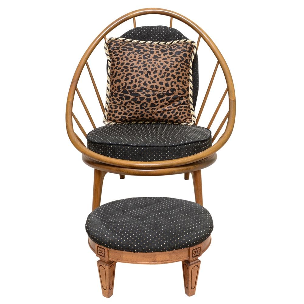 Modern Wooden Barrel Chair and Empire Wood Ottoman