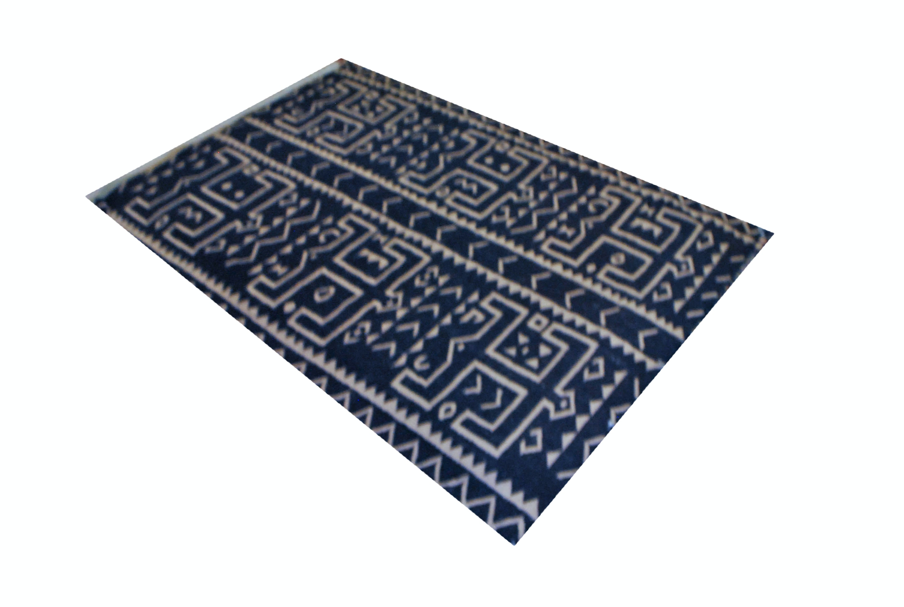 Handwoven Kilim Area Rug in Navy Blue and Cream