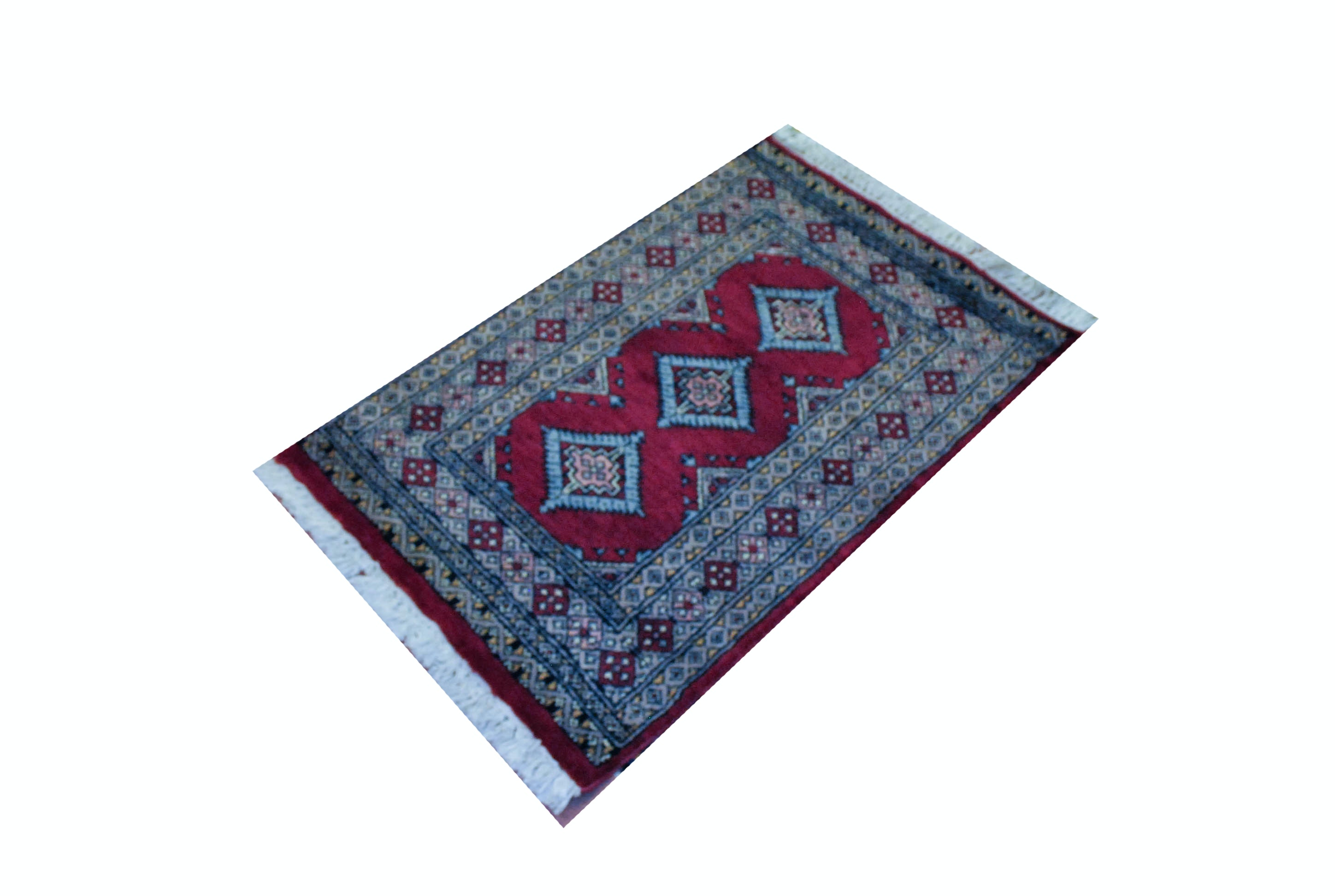 Red Hand Woven Bokhara Area Rug