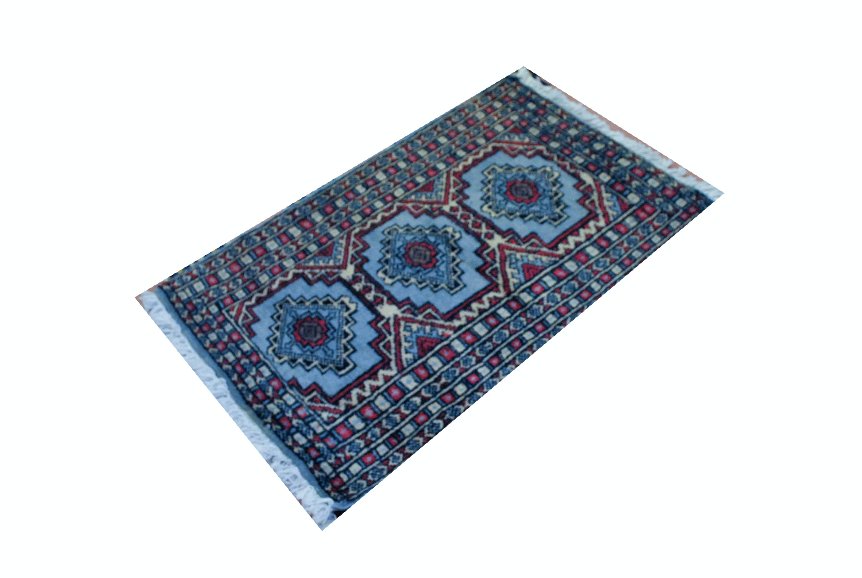 Hand Knotted Blue Bokhara Area Rug Ebth