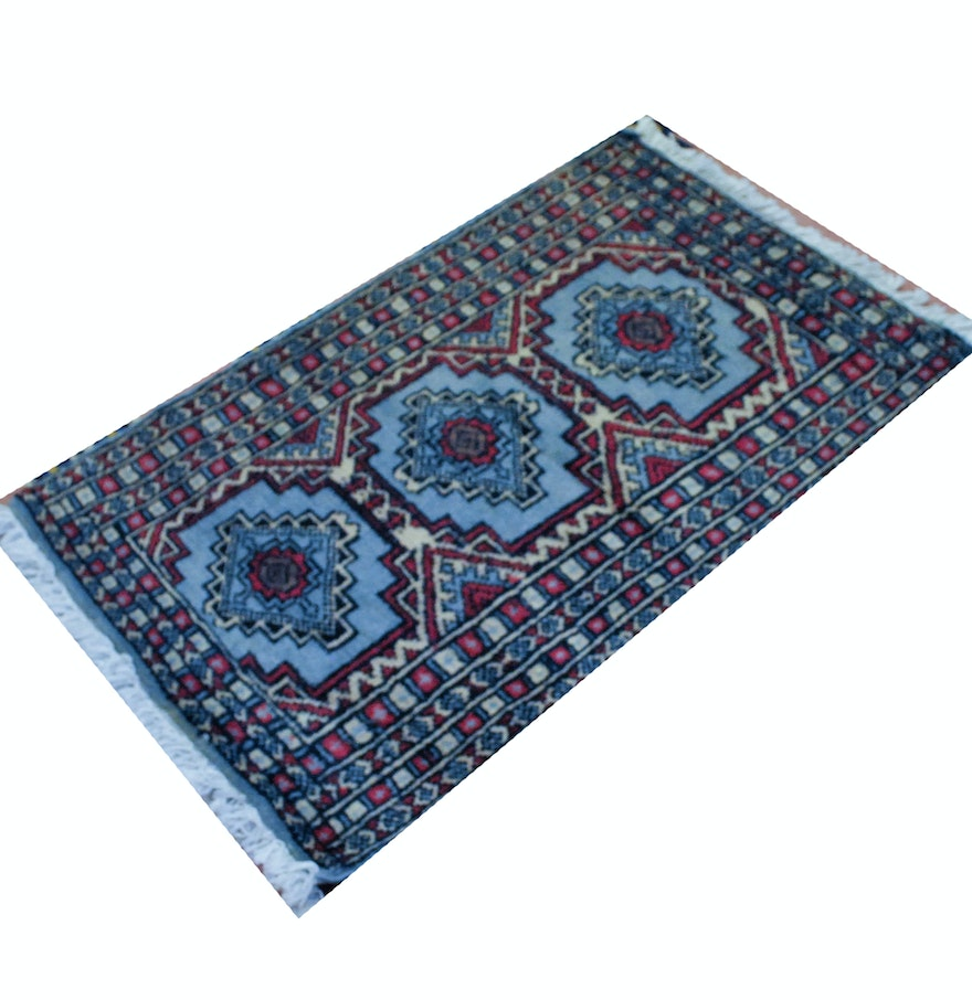 Hand-Knotted Blue Bokhara Area Rug : EBTH