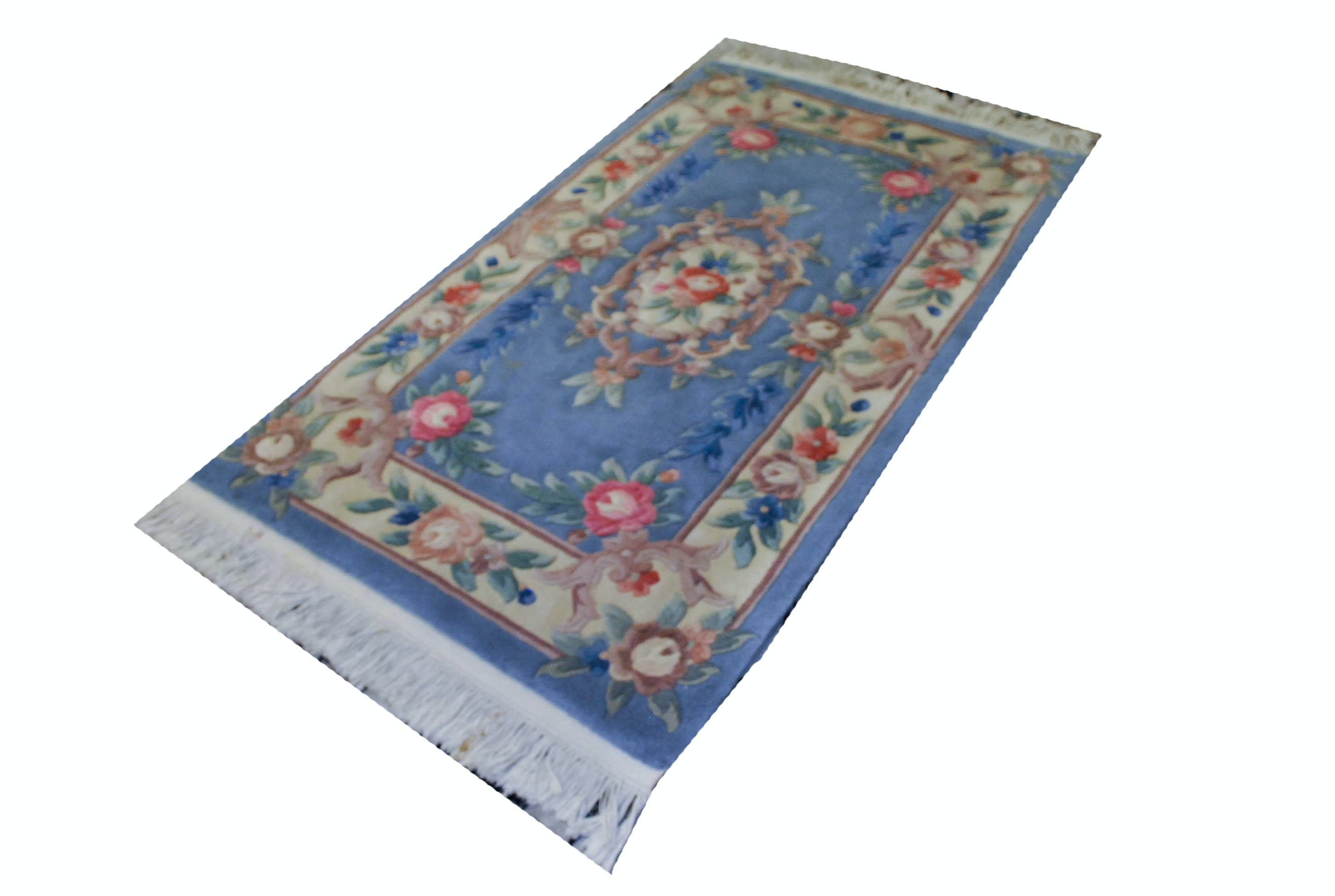 Hand Carved Light Blue Area Rug with Pink Roses
