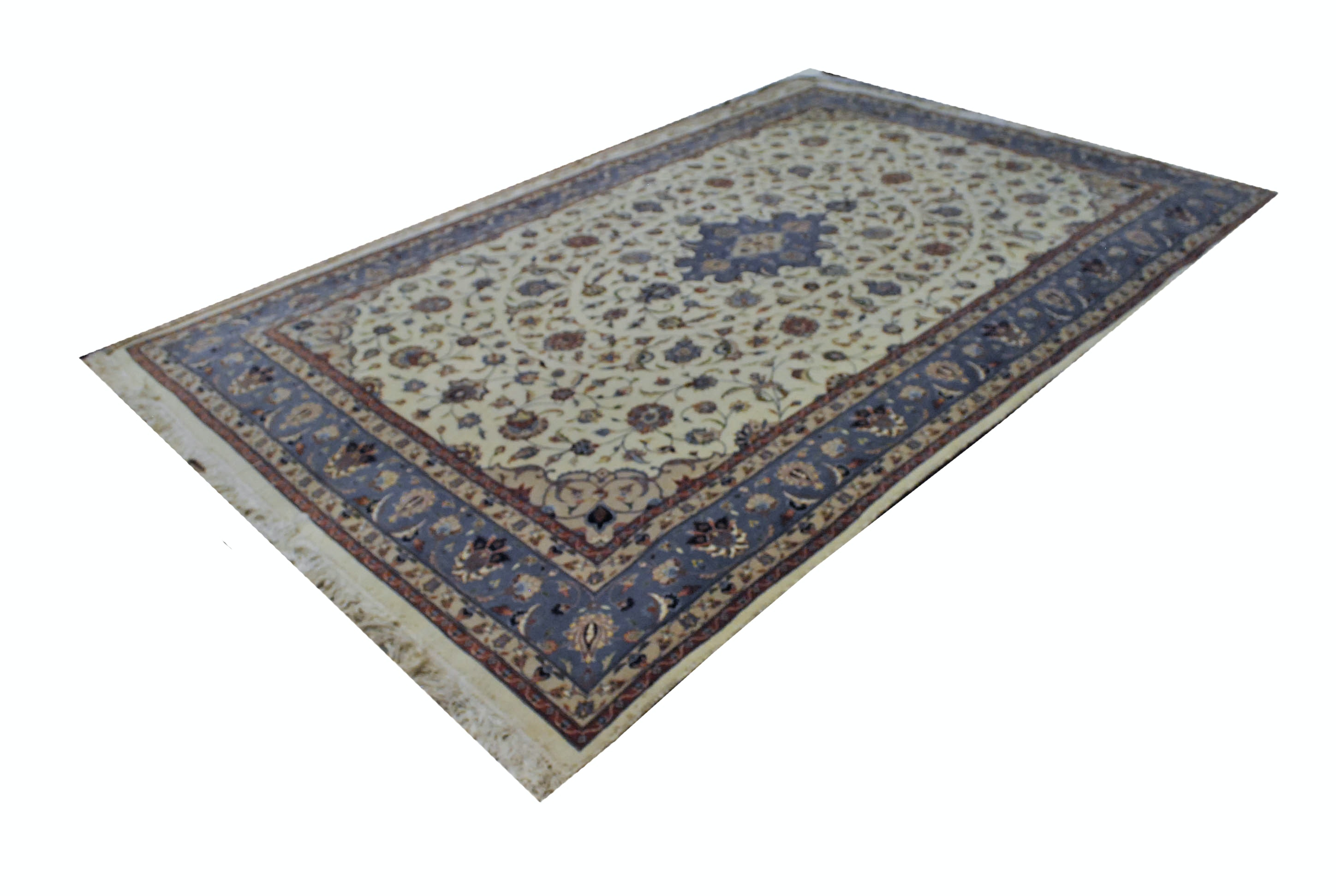 Handwoven Persian-Inspired Rug in Cream, Light Blue and Beige