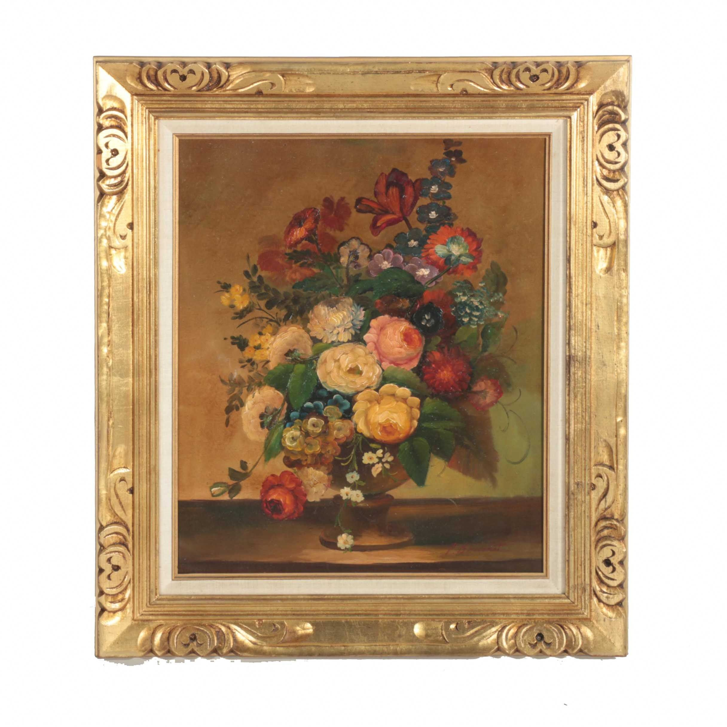 P. Bouchet Still Life Oil on Canvas of Vase Overflowing With Flowers