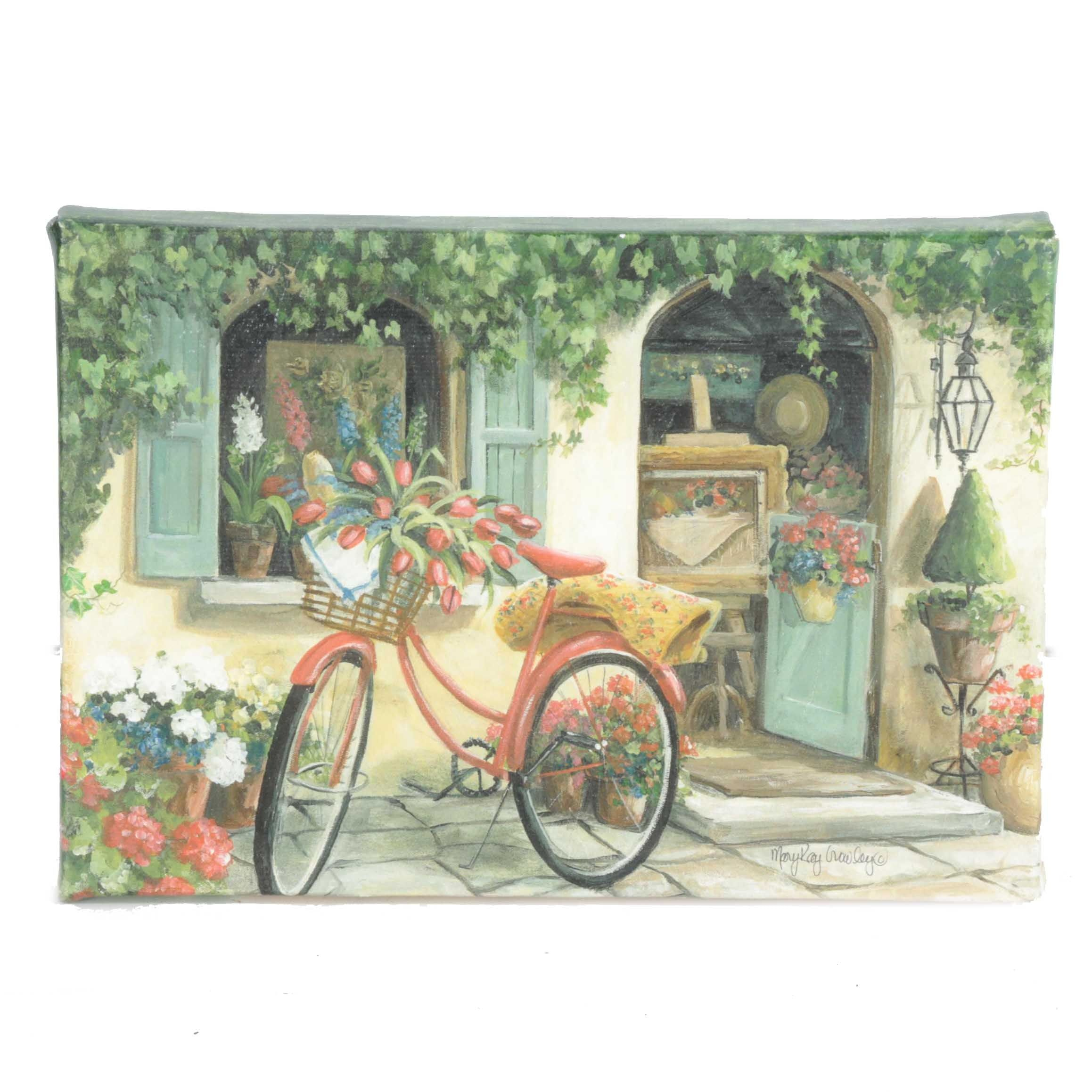 "Mary Kay Crowley Hand-Embellished Giclée on Canvas ""The Red Bike"""