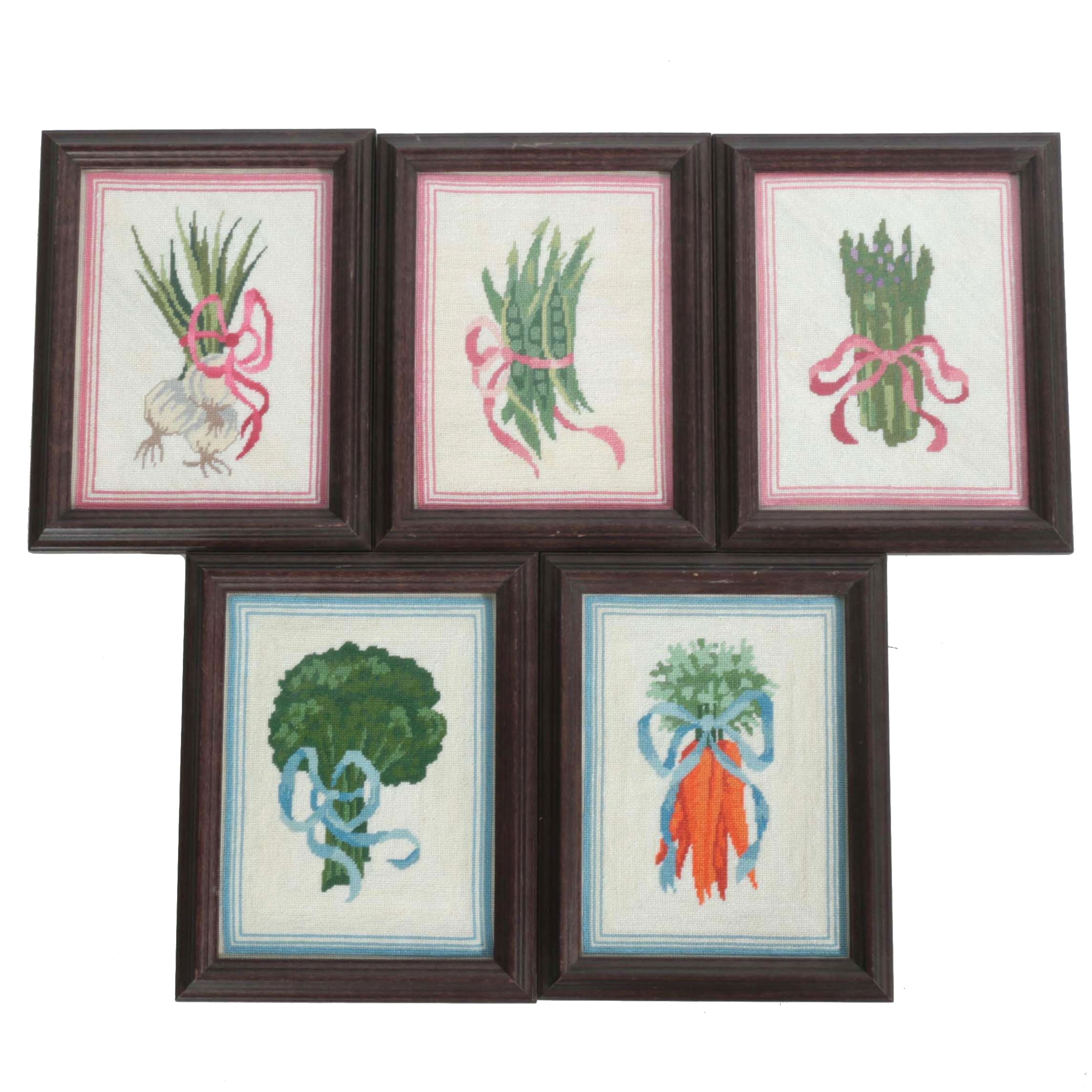 Five Embroidered Images of Vegetables