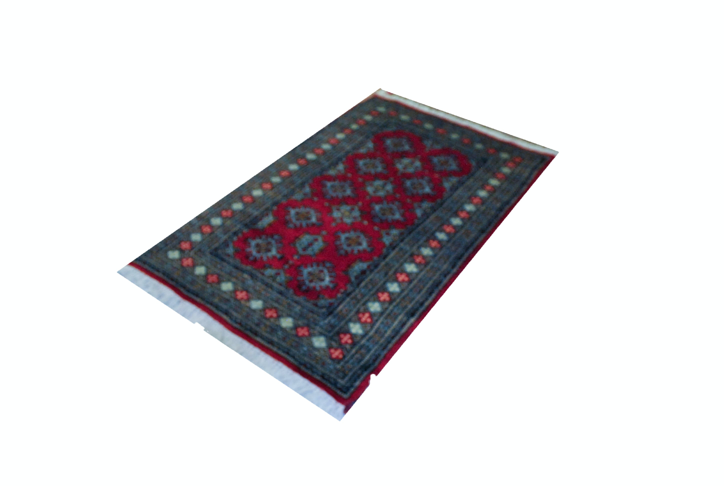 Handwoven Persian Style Area Rug with Repeated Medallions