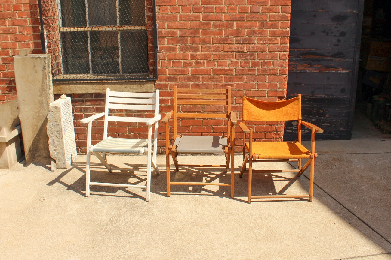 Three Mismatched Vintage Folding Chairs