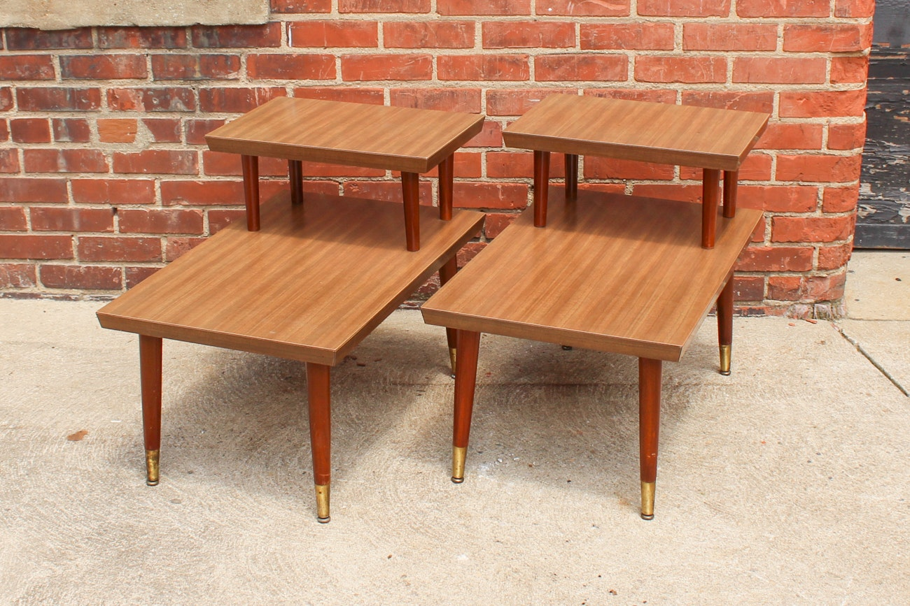 Pair of Mid-Century Modern Step Side Tables
