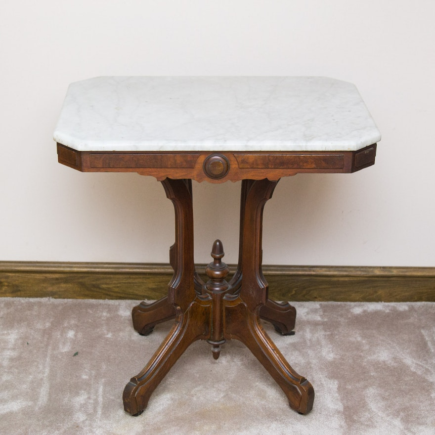 Antique Marble Side Table Reading: Antique Marble Top Parlor Side Table On Casters : EBTH