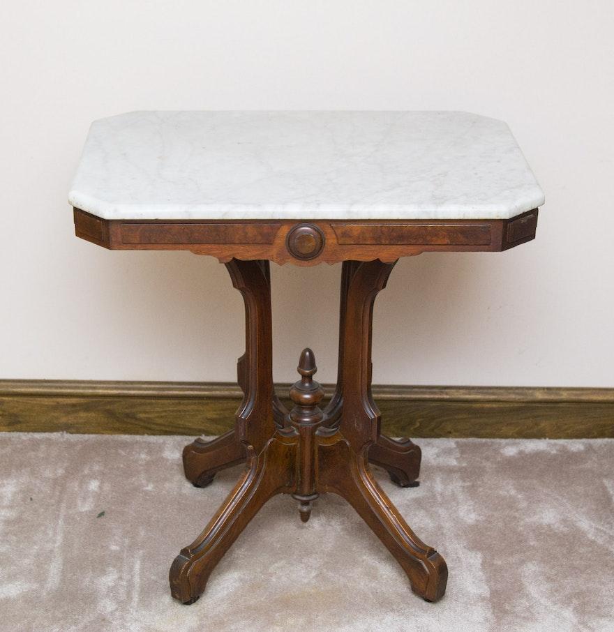 antique marble top parlor side table on casters ebth. Black Bedroom Furniture Sets. Home Design Ideas