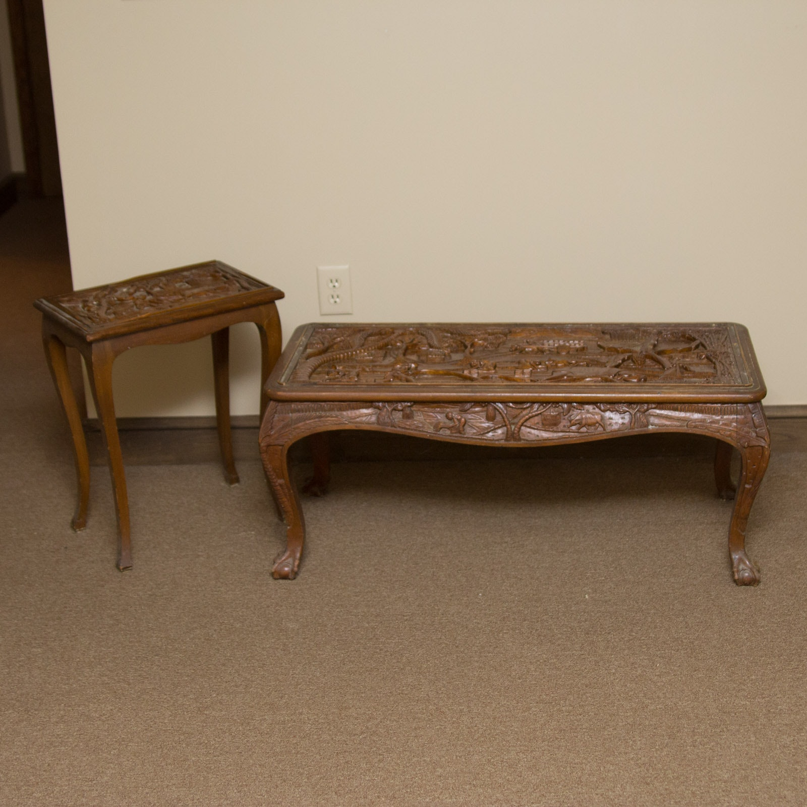 Hand-Carved Farming Themed Coffee Table and End Table from Southeast Asia