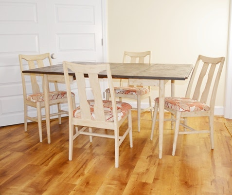 Vintage Painted Wood Drop Leaf Table and Four Chairs