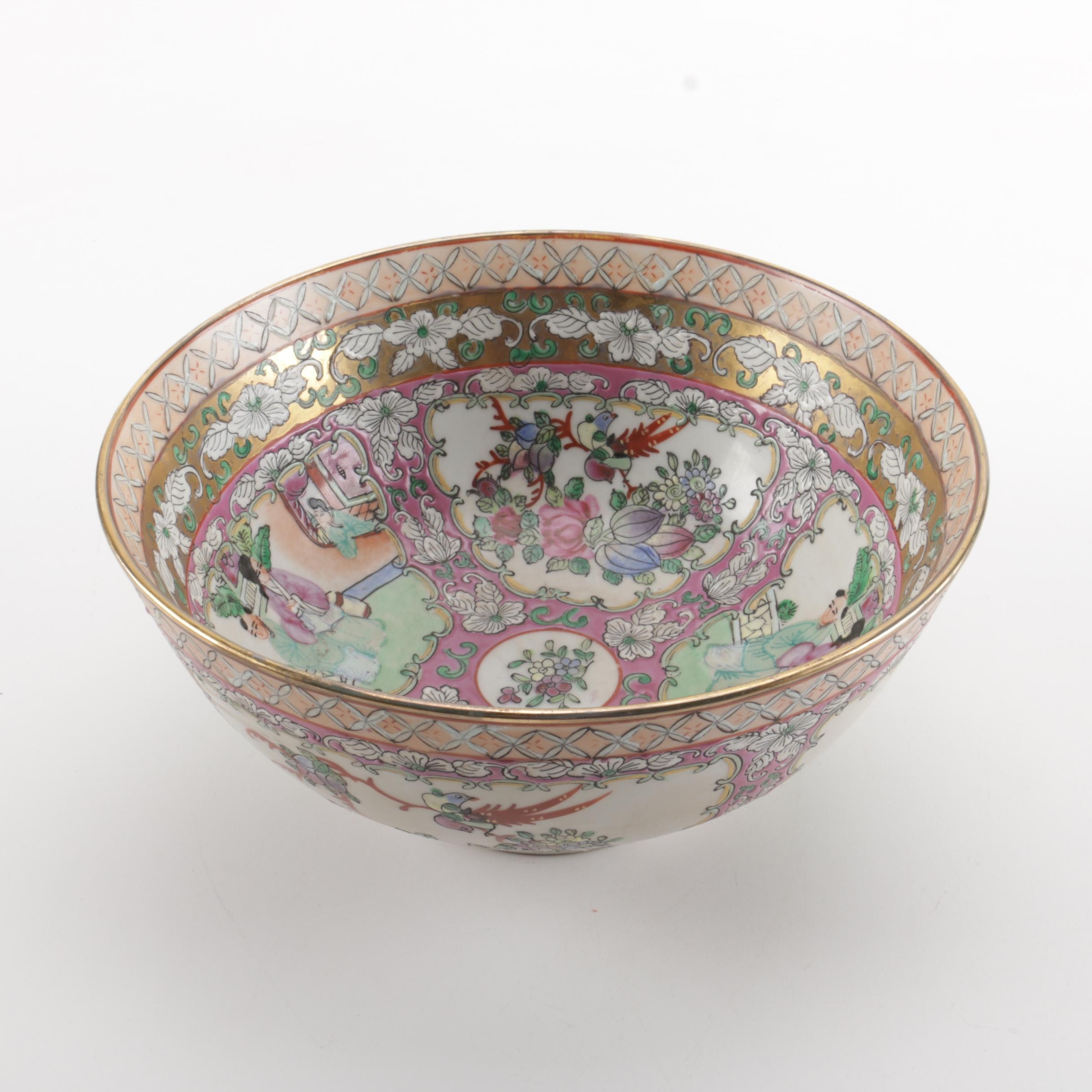 Asian Inspired Hand-Painted Ceramic Bowl