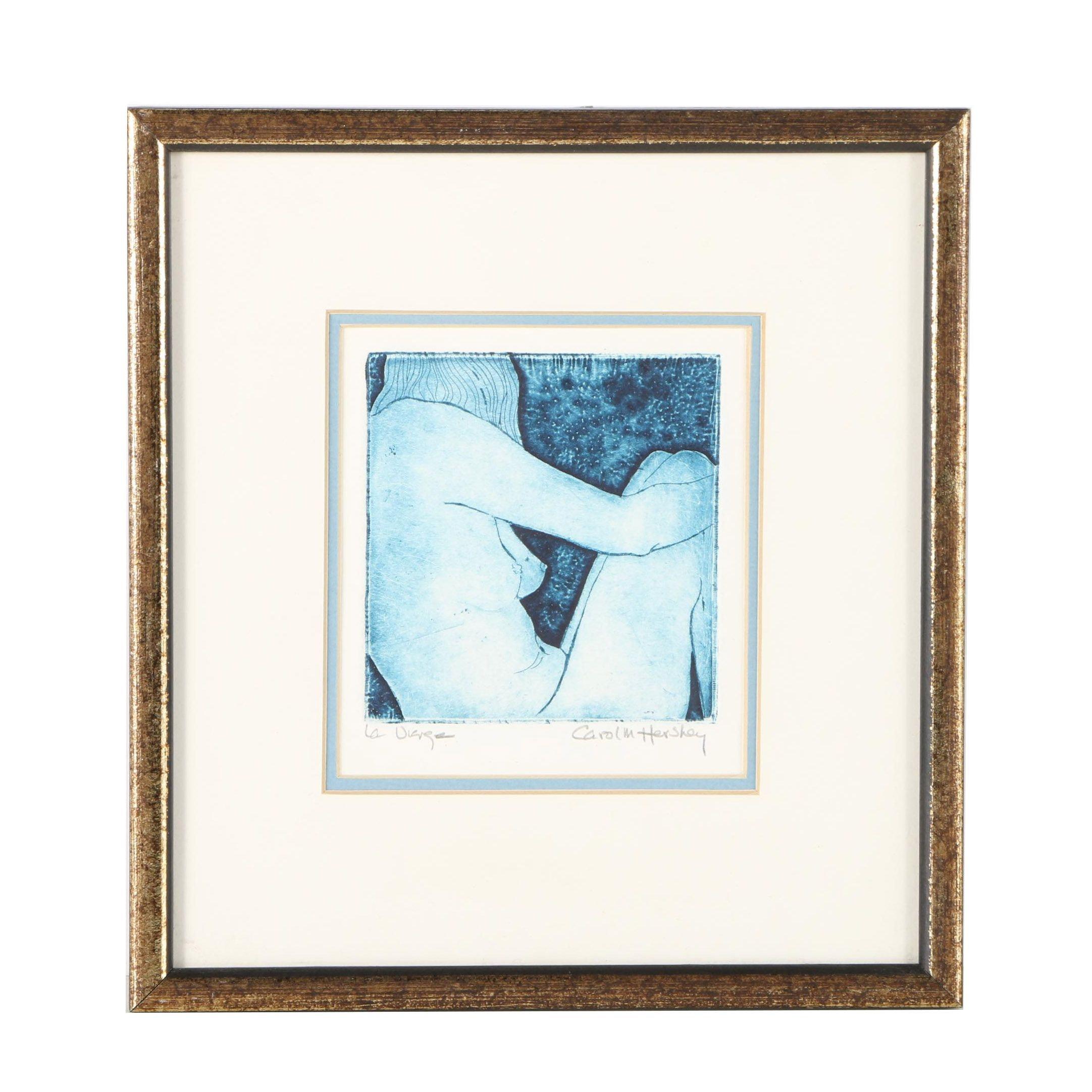 Carol M. Hershey Etching of a Female Nude