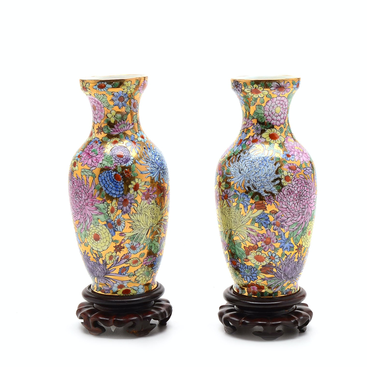 Hand-Painted Chinese Vases with Stands