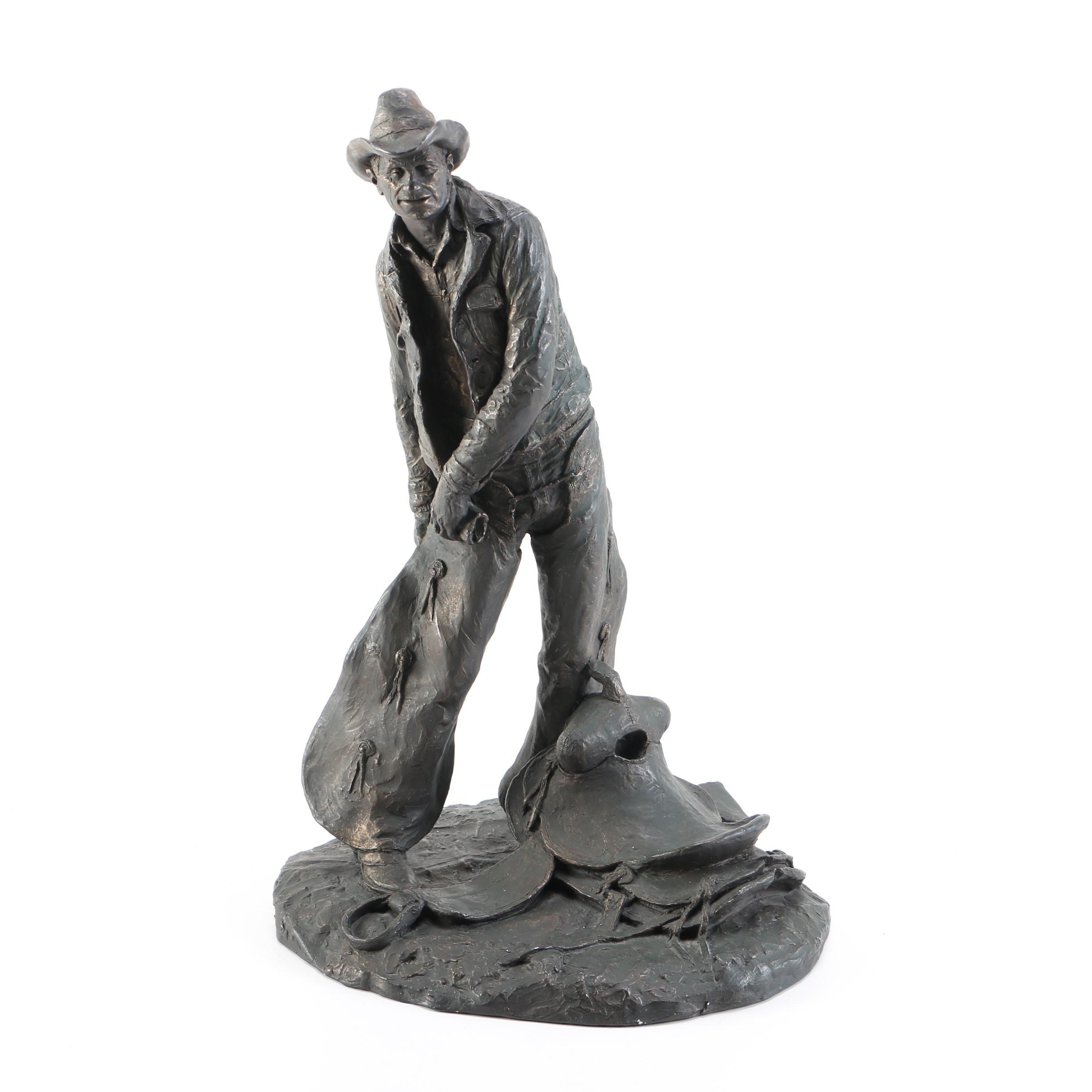 "Michael Garman Bronze Tone Sculpture ""Taking The Rough Off"""