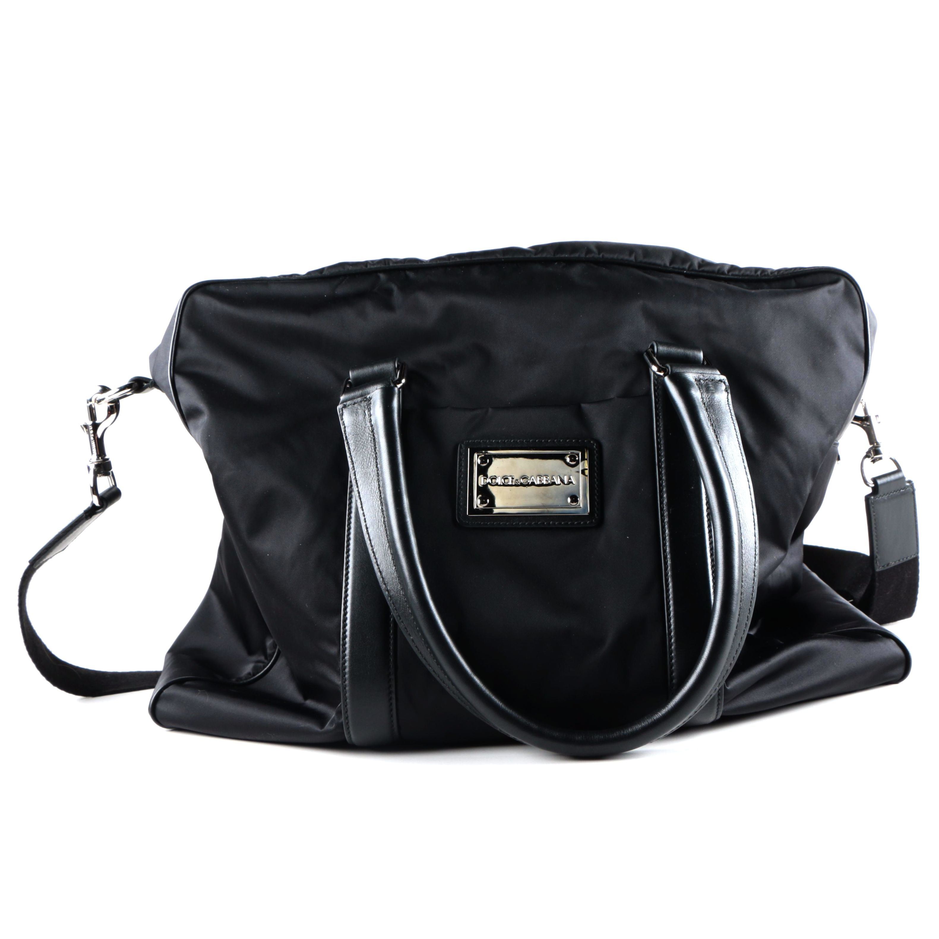 Dolce & Gabanna Black Nylon Duffle Bag