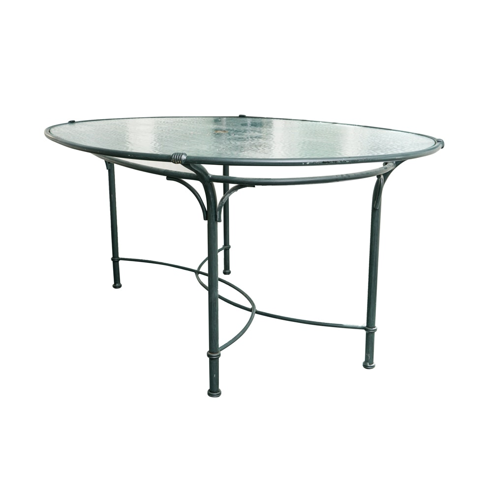 Beautiful Brown Jordan Glass Top Metal Patio Dining Table