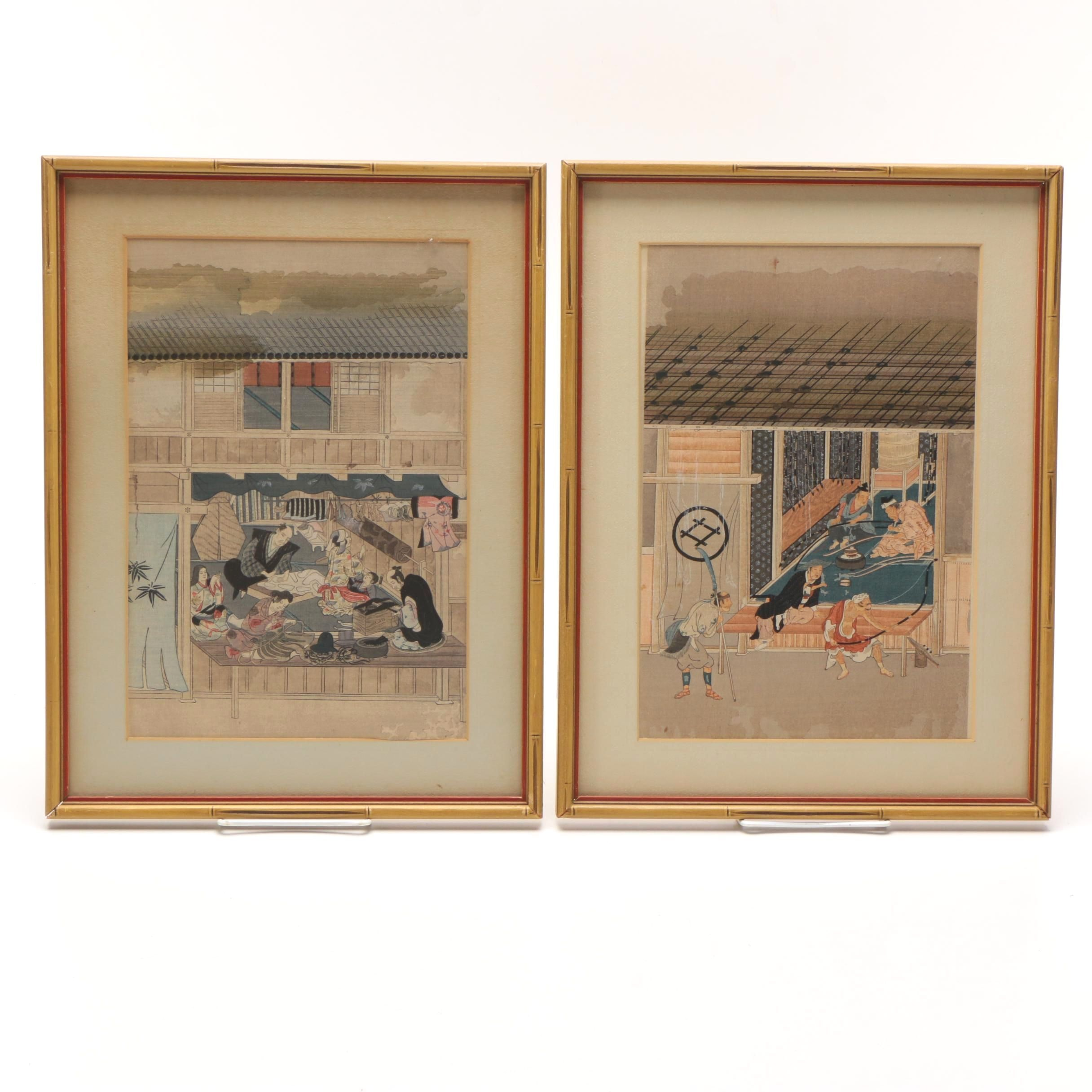 """After Mitsuoki Tosa Woodblock Prints on Paper """"A Furier"""" and """"A Bow-Maker"""""""