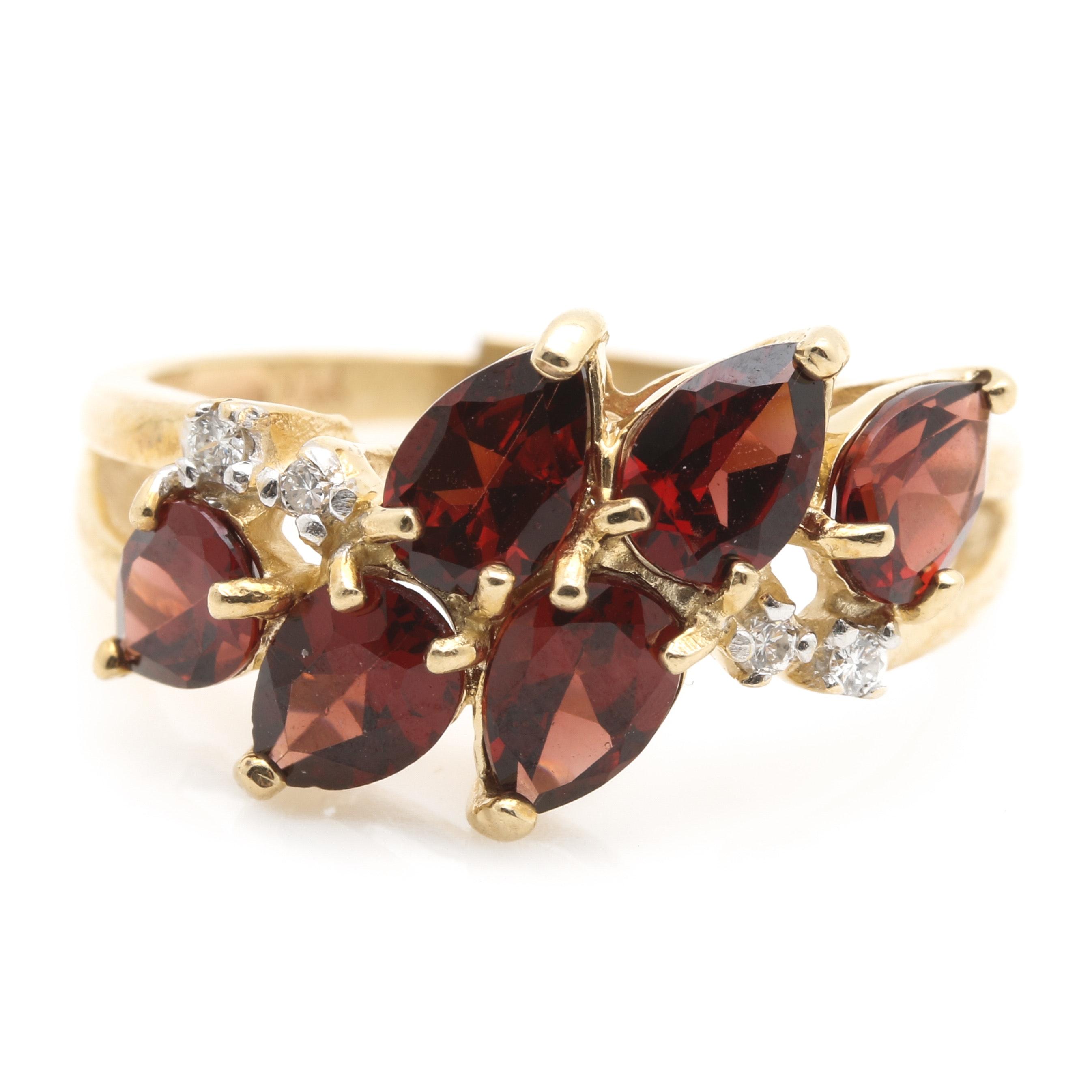 14K Yellow Gold Garnet and Diamond Foliate Ring