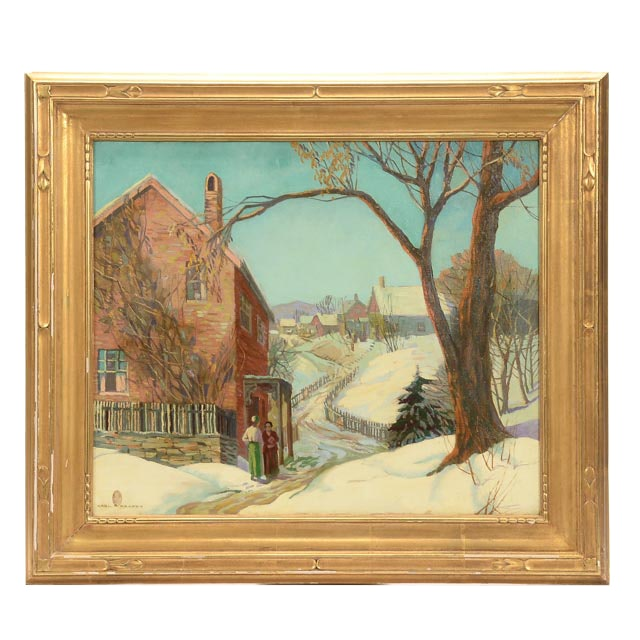"Carl R. Krafft Signed Original Oil on Canvas ""Oak Park, Illinois"""