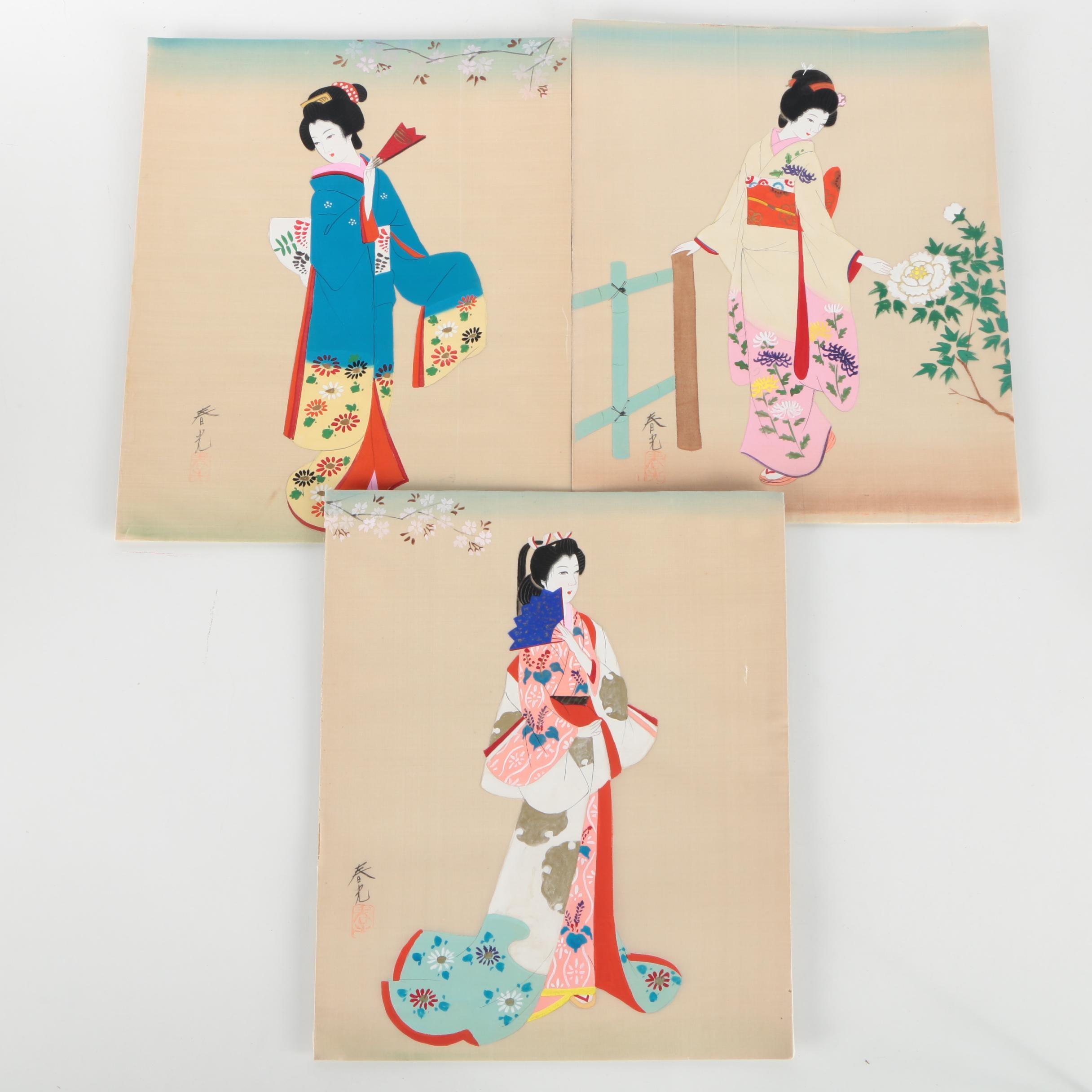 Japanese Gouache Paintings on Silk of Women